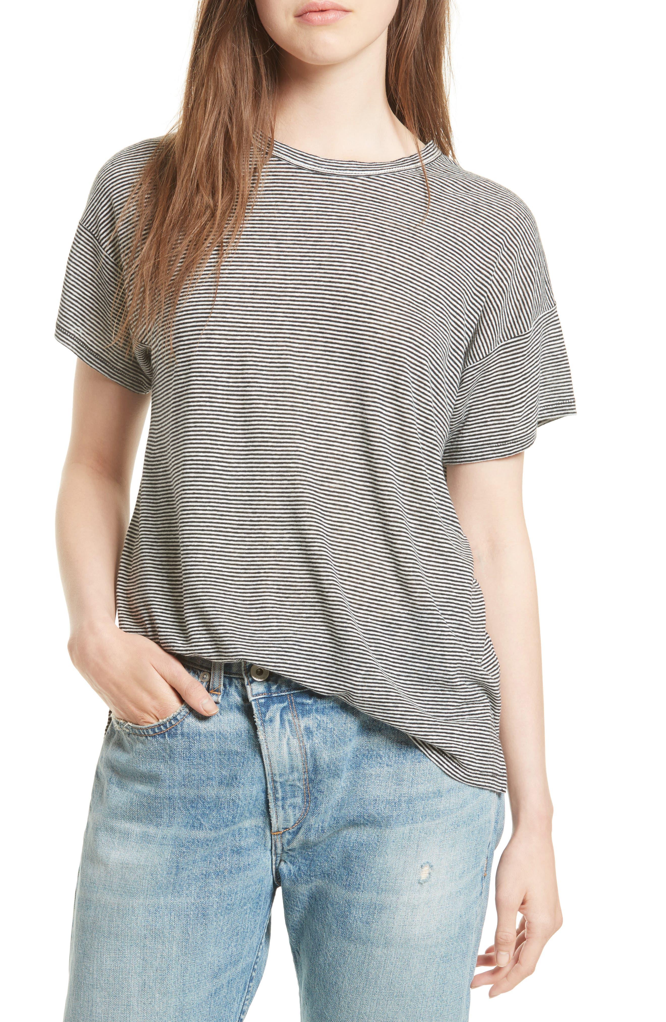 Main Image - rag & bone/JEAN Stripe Linen Blend Tee