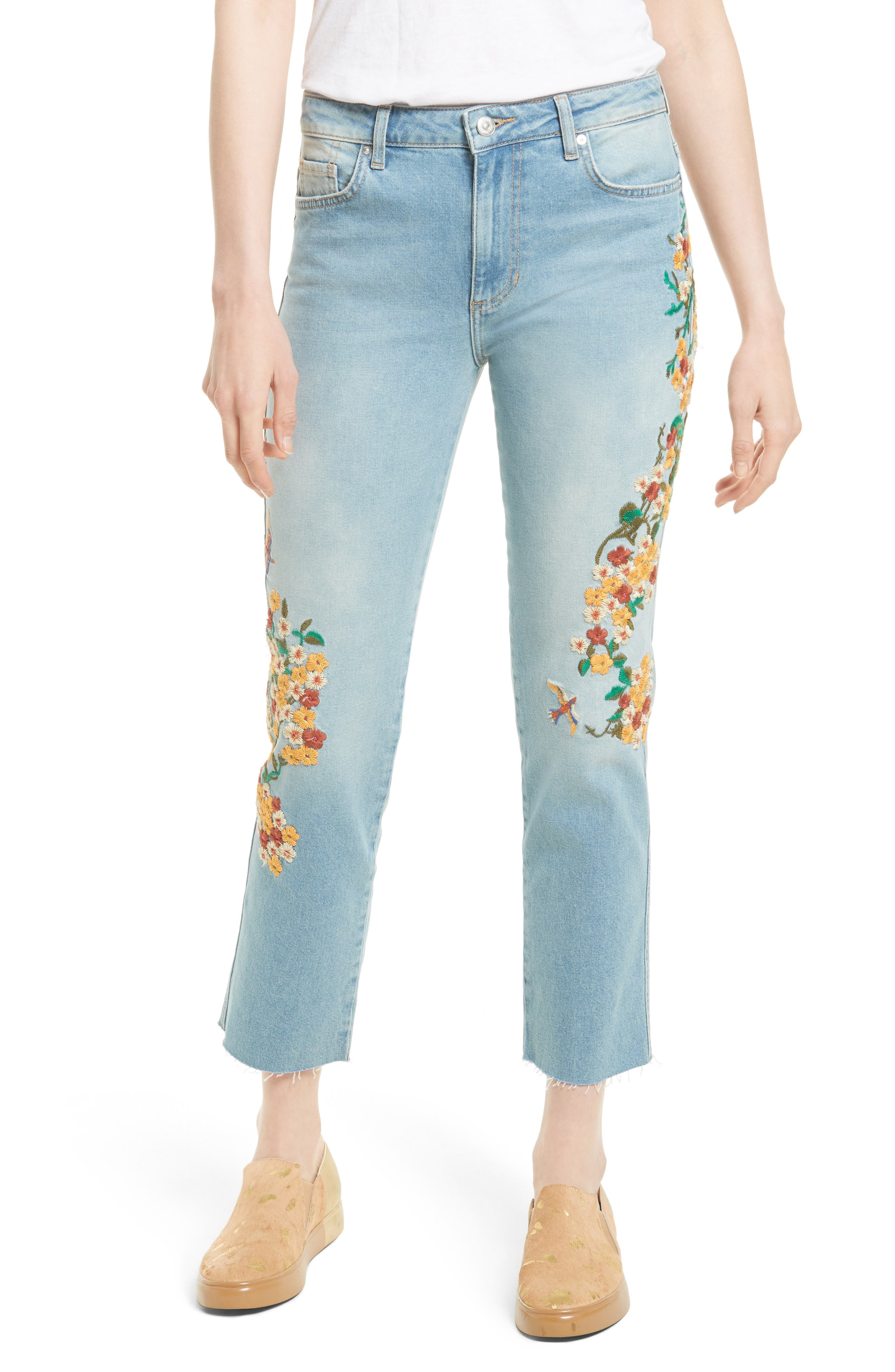 Embroidered Crop Girlfriend Jeans,                         Main,                         color, Light Denim