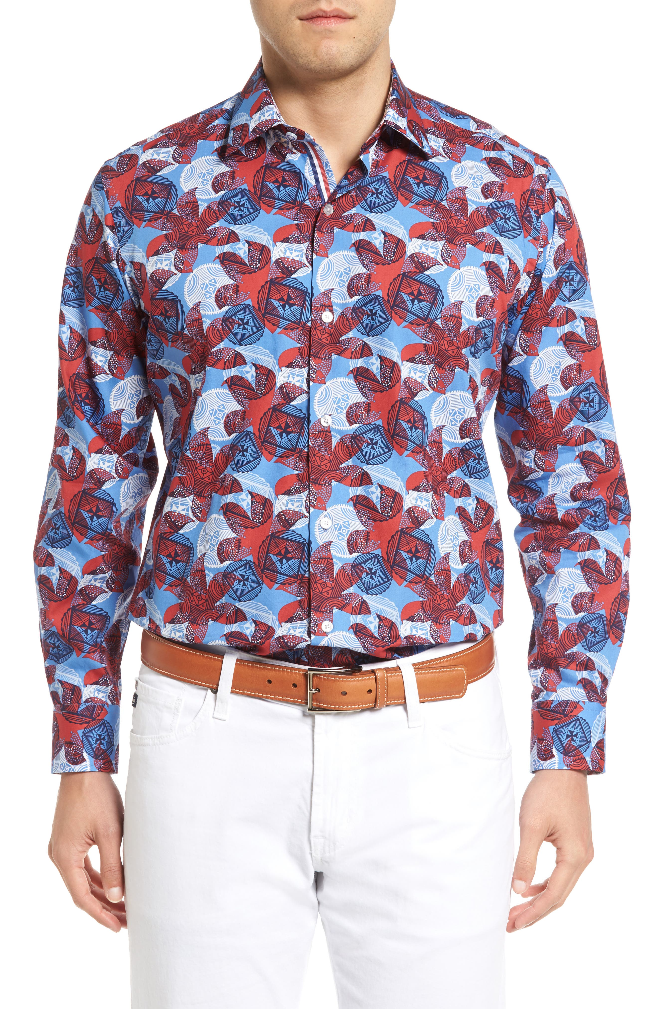 Main Image - Tailorbyrd Cider Regular Fit Abstract Pattern Sport Shirt