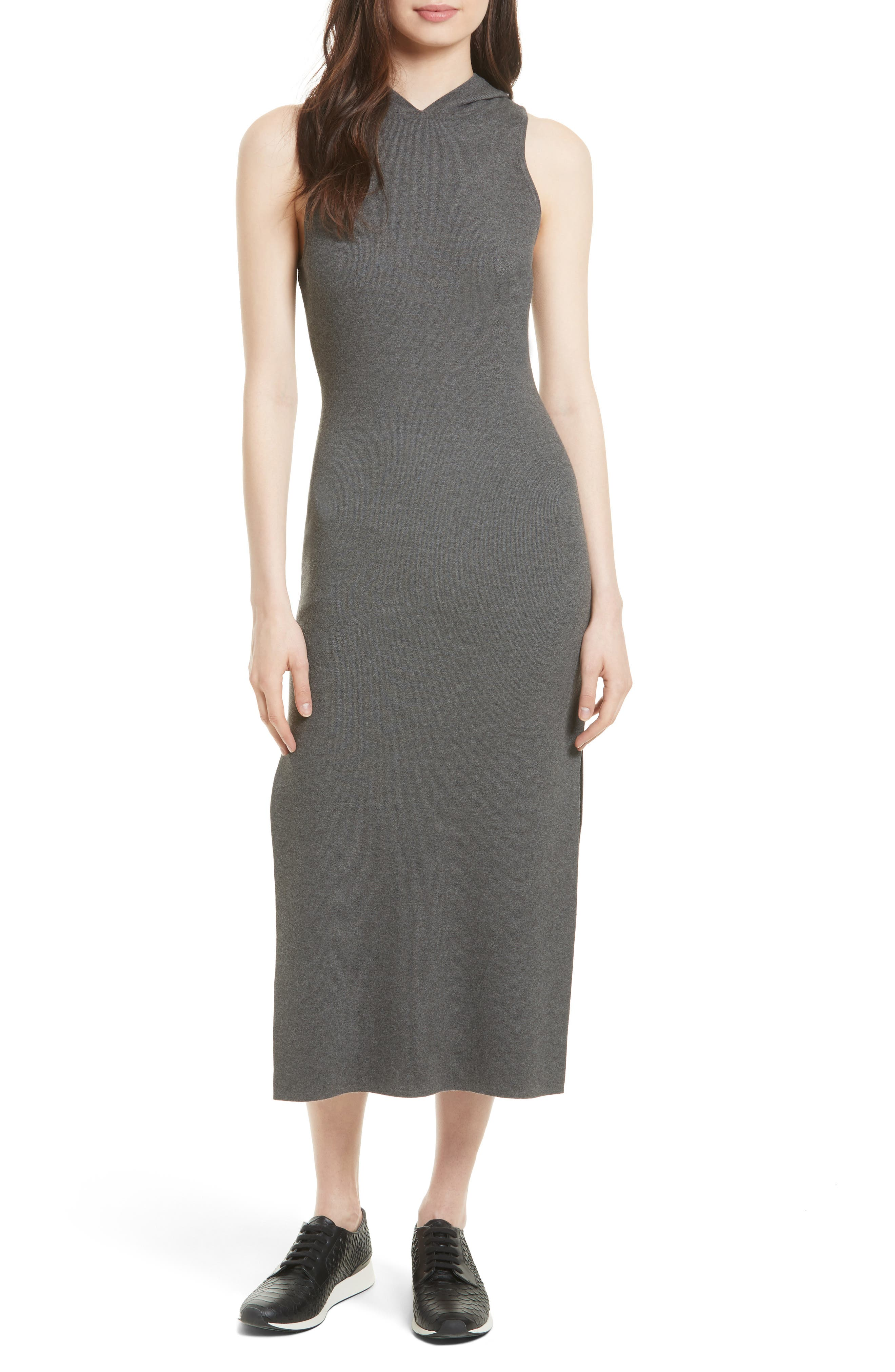 Hooded Jersey Midi Dress,                         Main,                         color, Charcoal