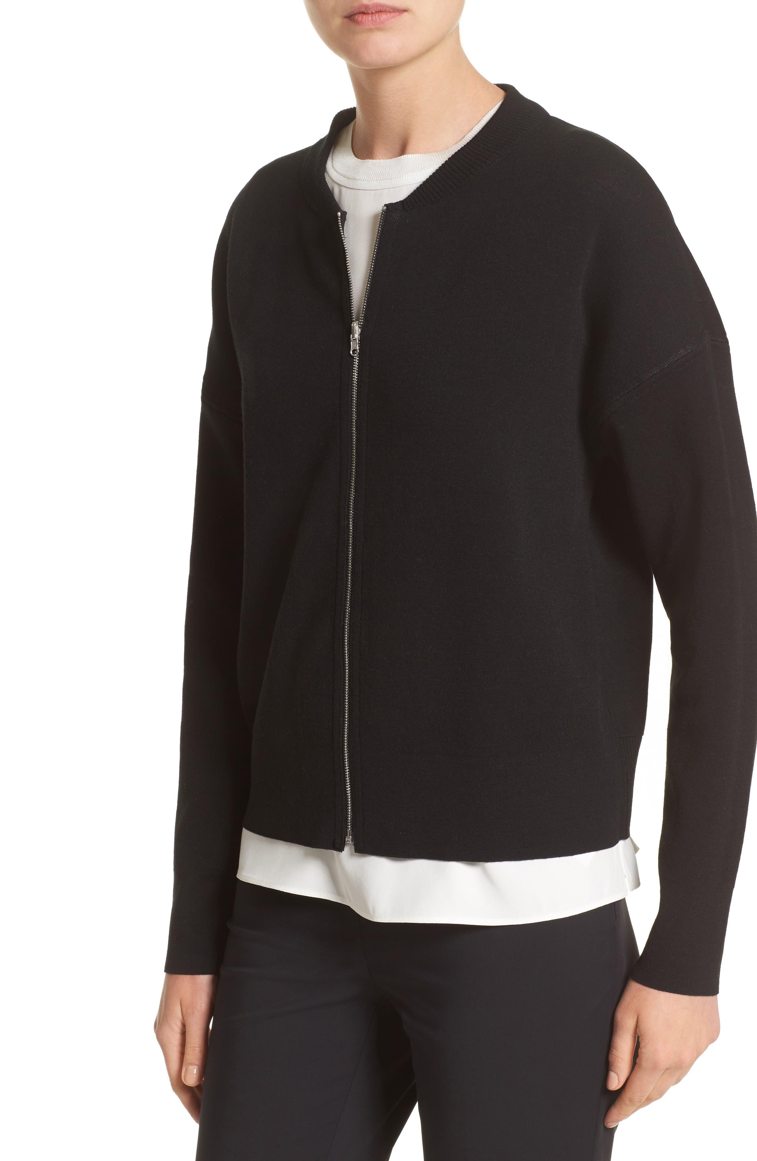 Matte Crepe Reversible Knit Bomber Jacket,                             Alternate thumbnail 2, color,                             Cloud / Black