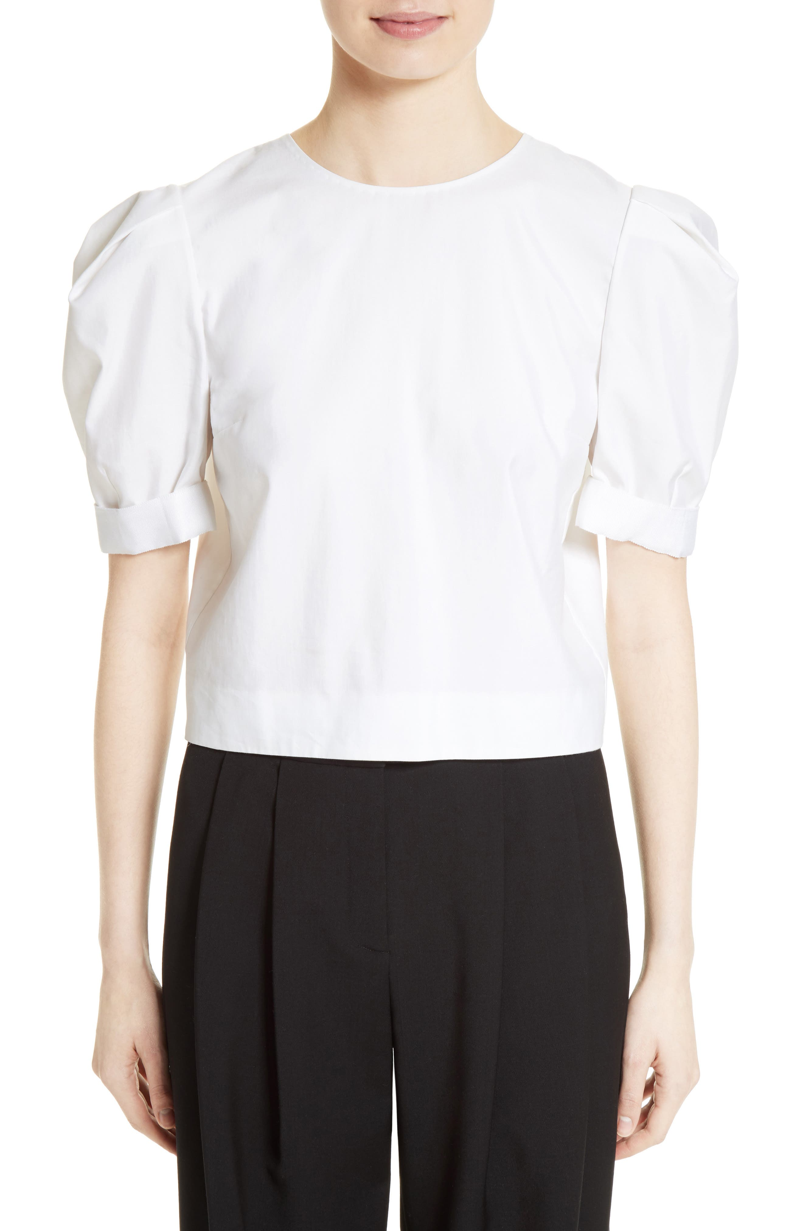 Main Image - Adam Lippes Puff Sleeve Cotton Blouse