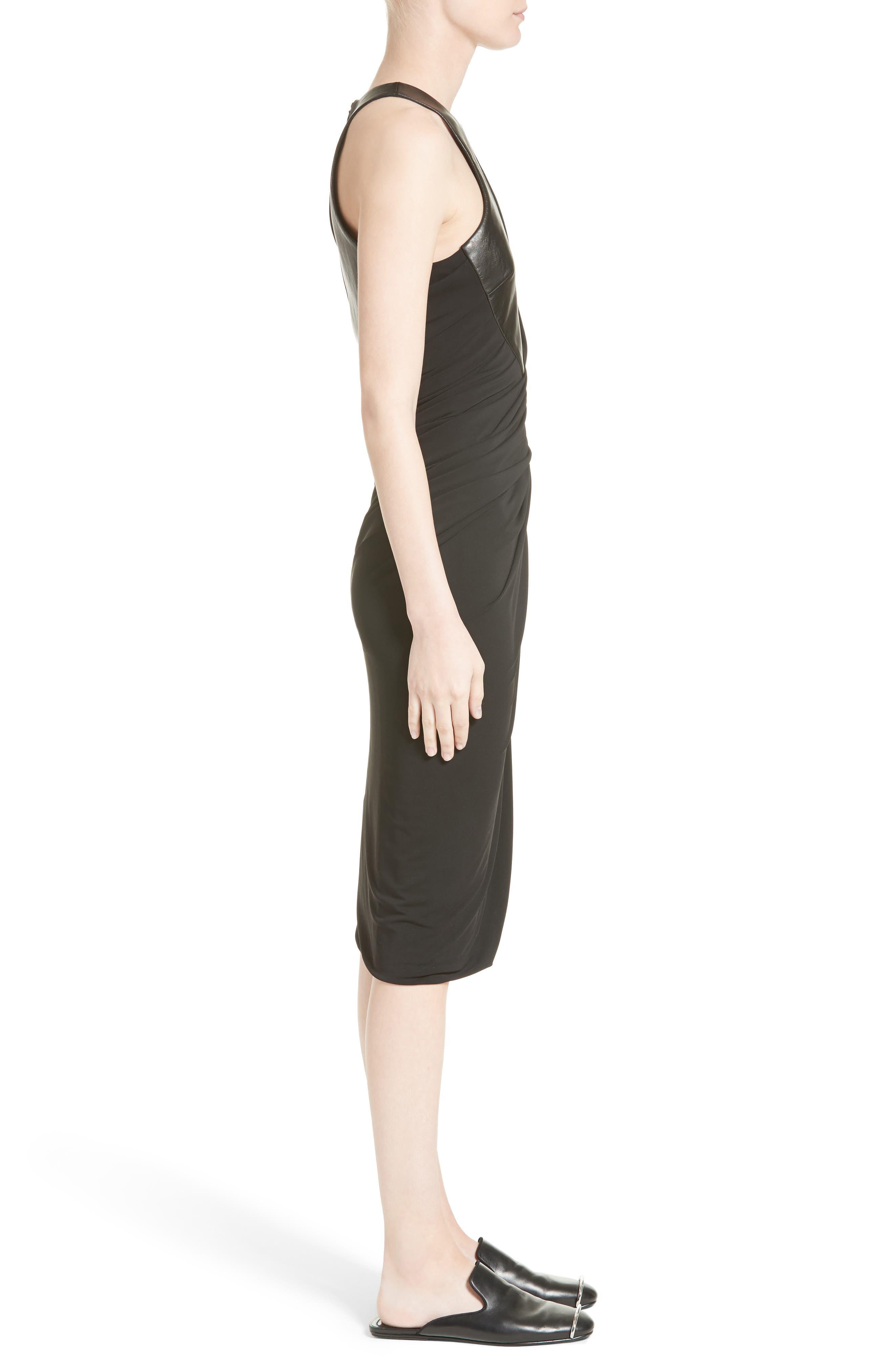 Draped Jersey & Leather Dress,                             Alternate thumbnail 5, color,                             Onyx