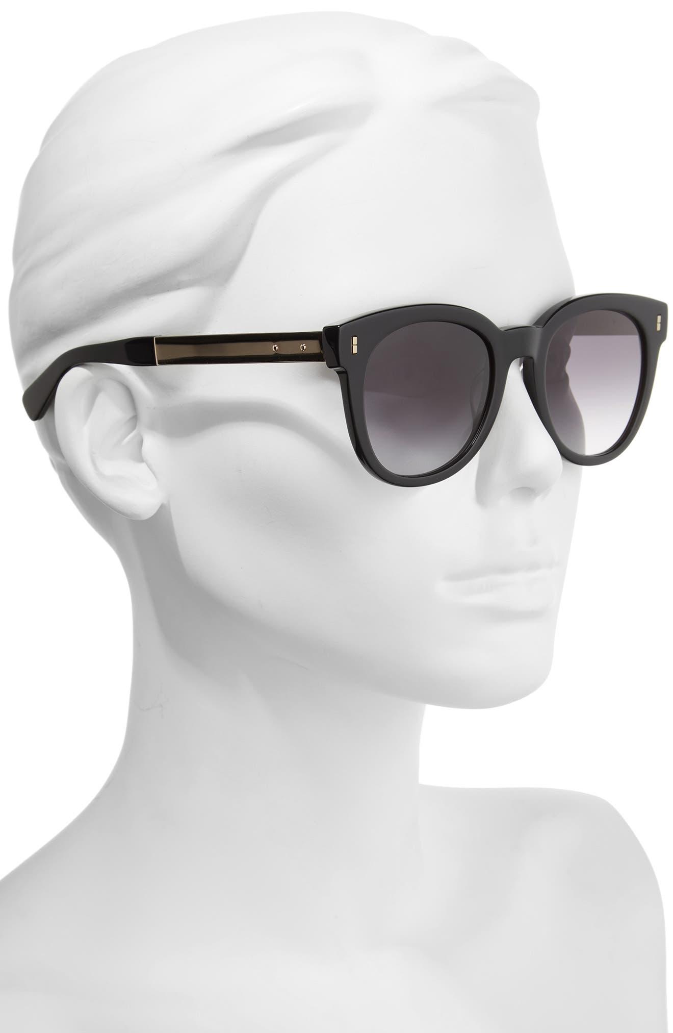 The Hannah 50mm Gradient Sunglasses,                             Alternate thumbnail 2, color,                             Black/ Gold