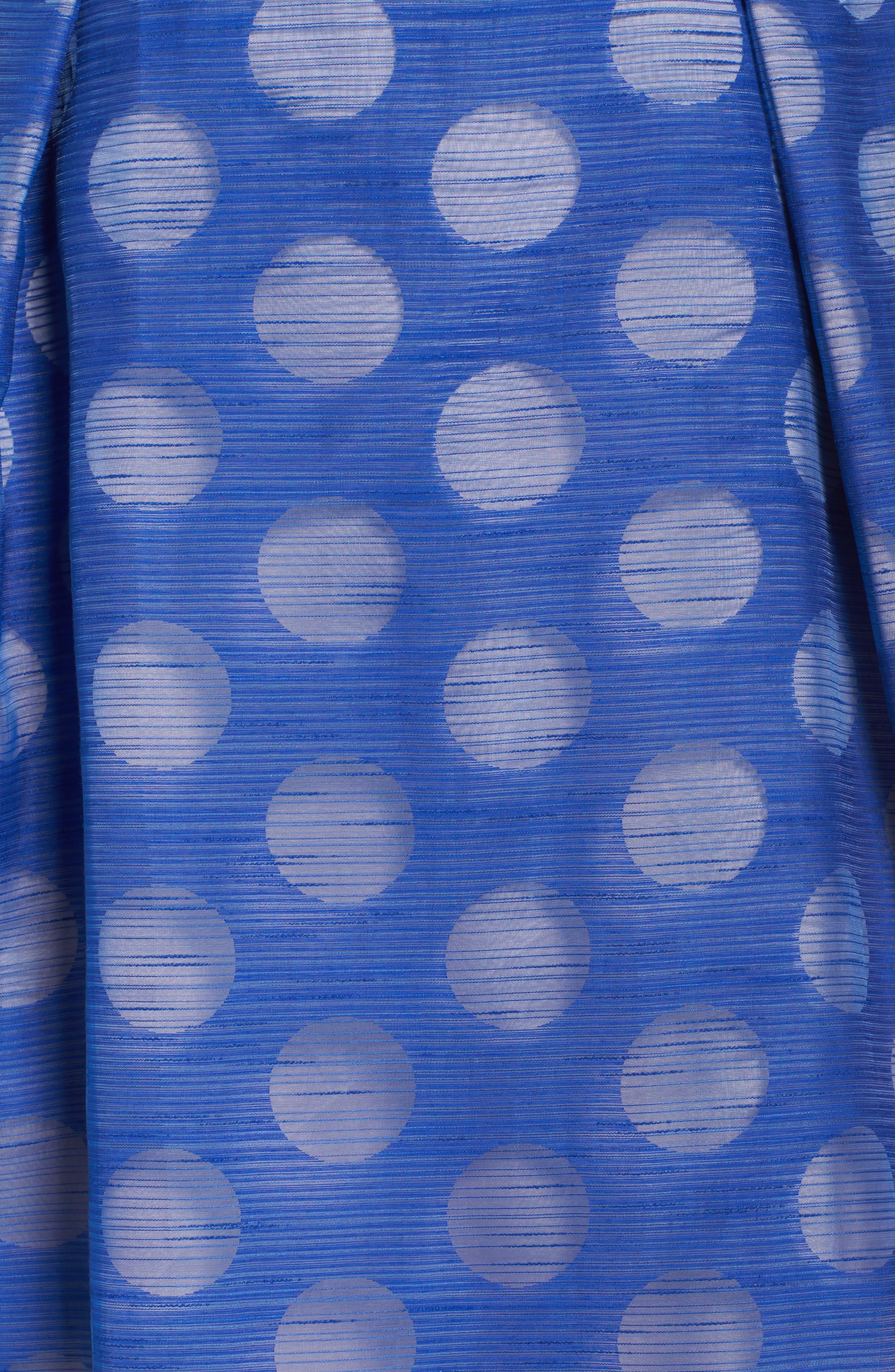 Pop Dot Burnout Fit & Flare Dress,                             Alternate thumbnail 5, color,                             Cobalt/ Blush