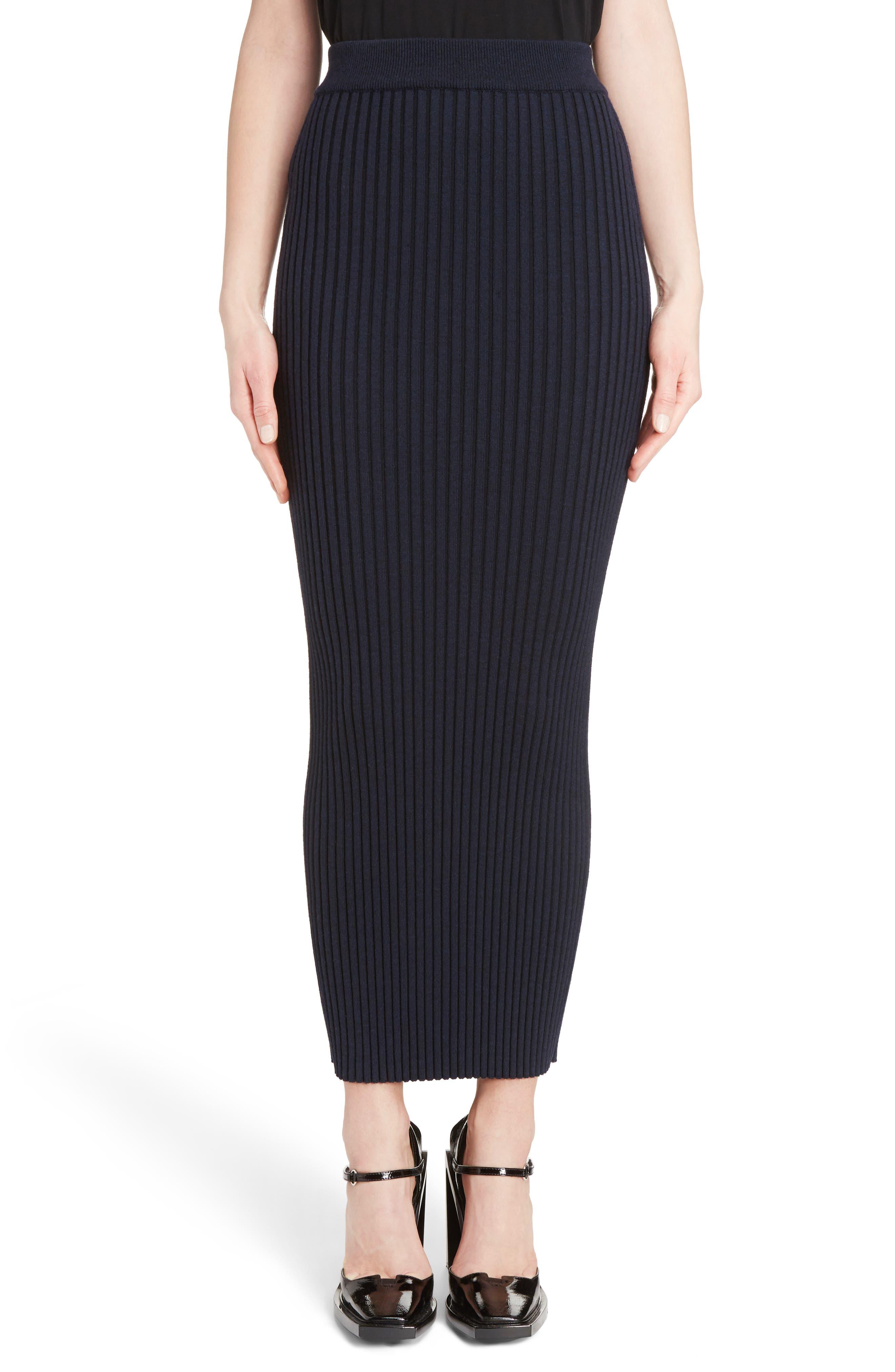 Body-Con Maxi Skirt,                         Main,                         color, Navy Blue