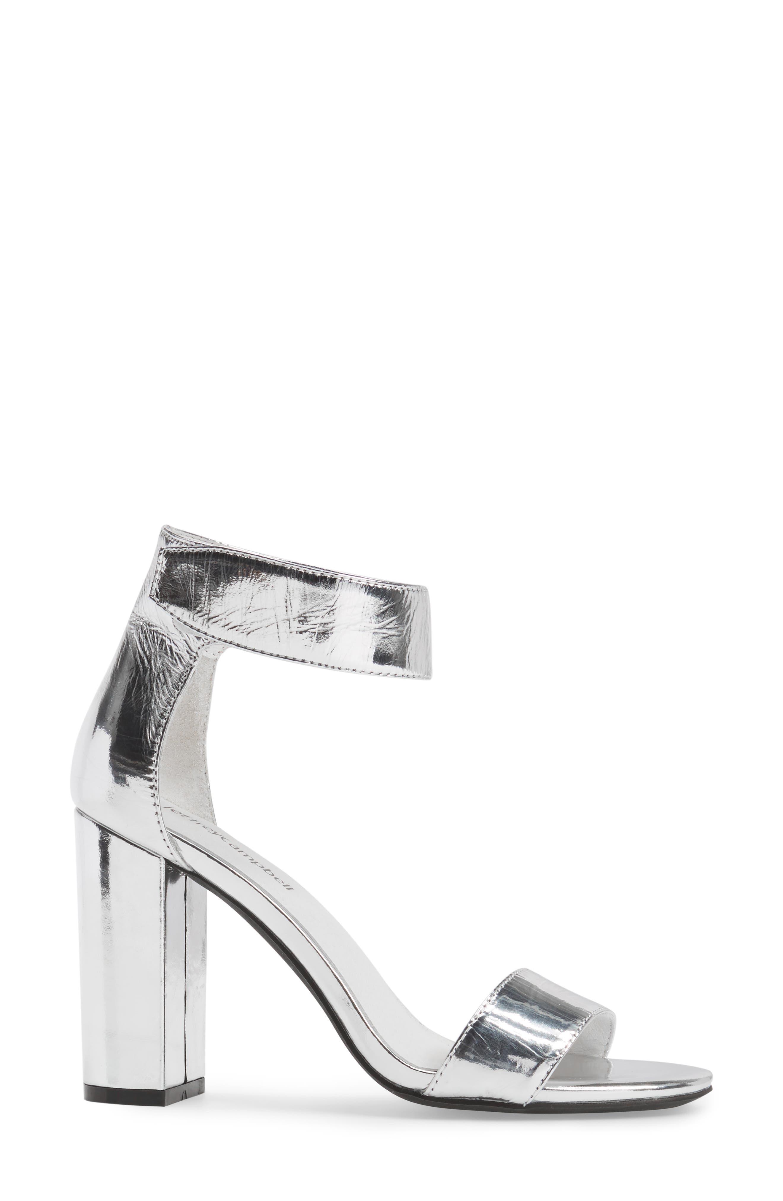 'Lindsay' Ankle Strap Sandal,                             Alternate thumbnail 3, color,                             Silver