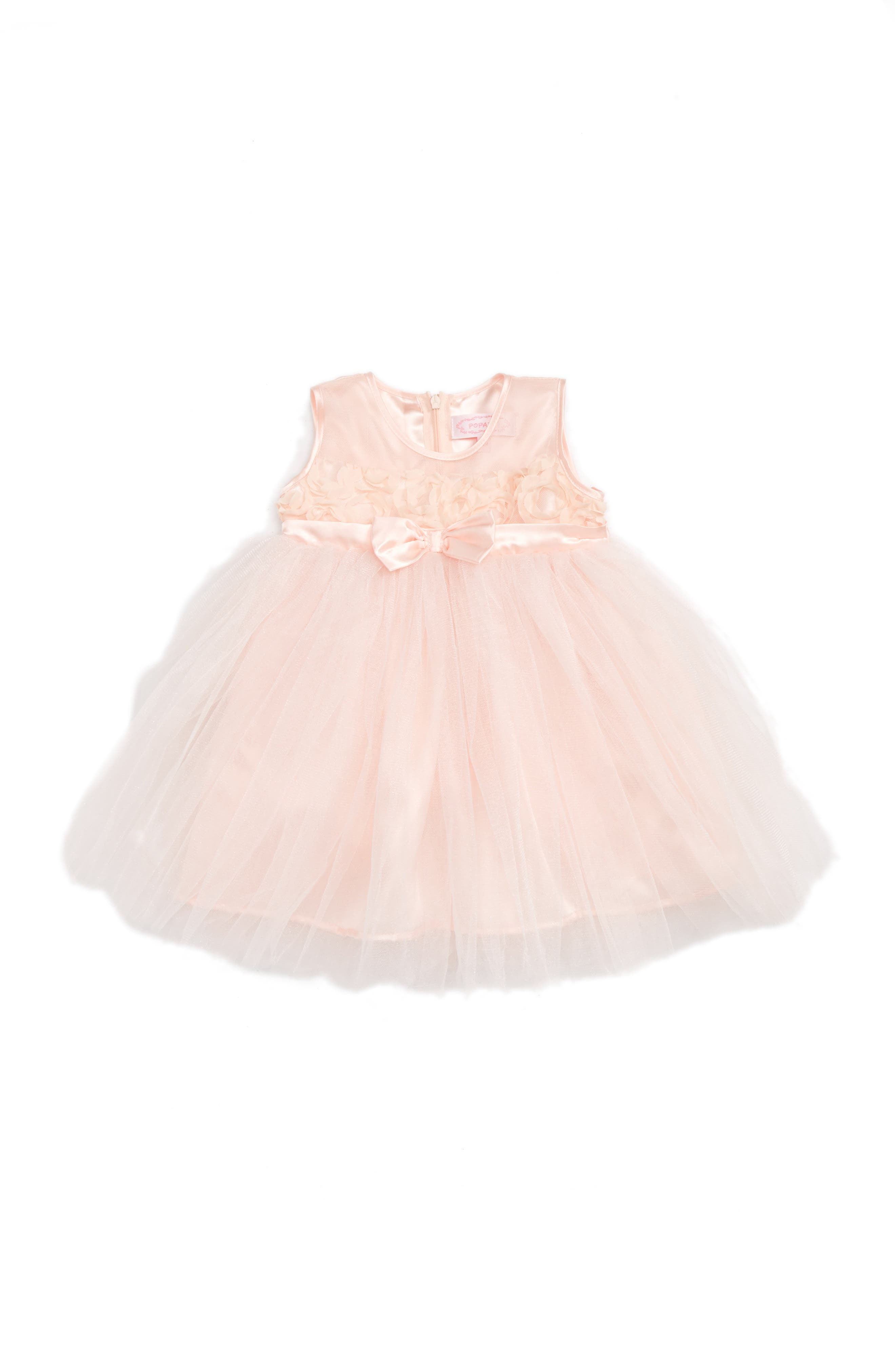 Sleeveless Tulle Dress,                         Main,                         color, Pink