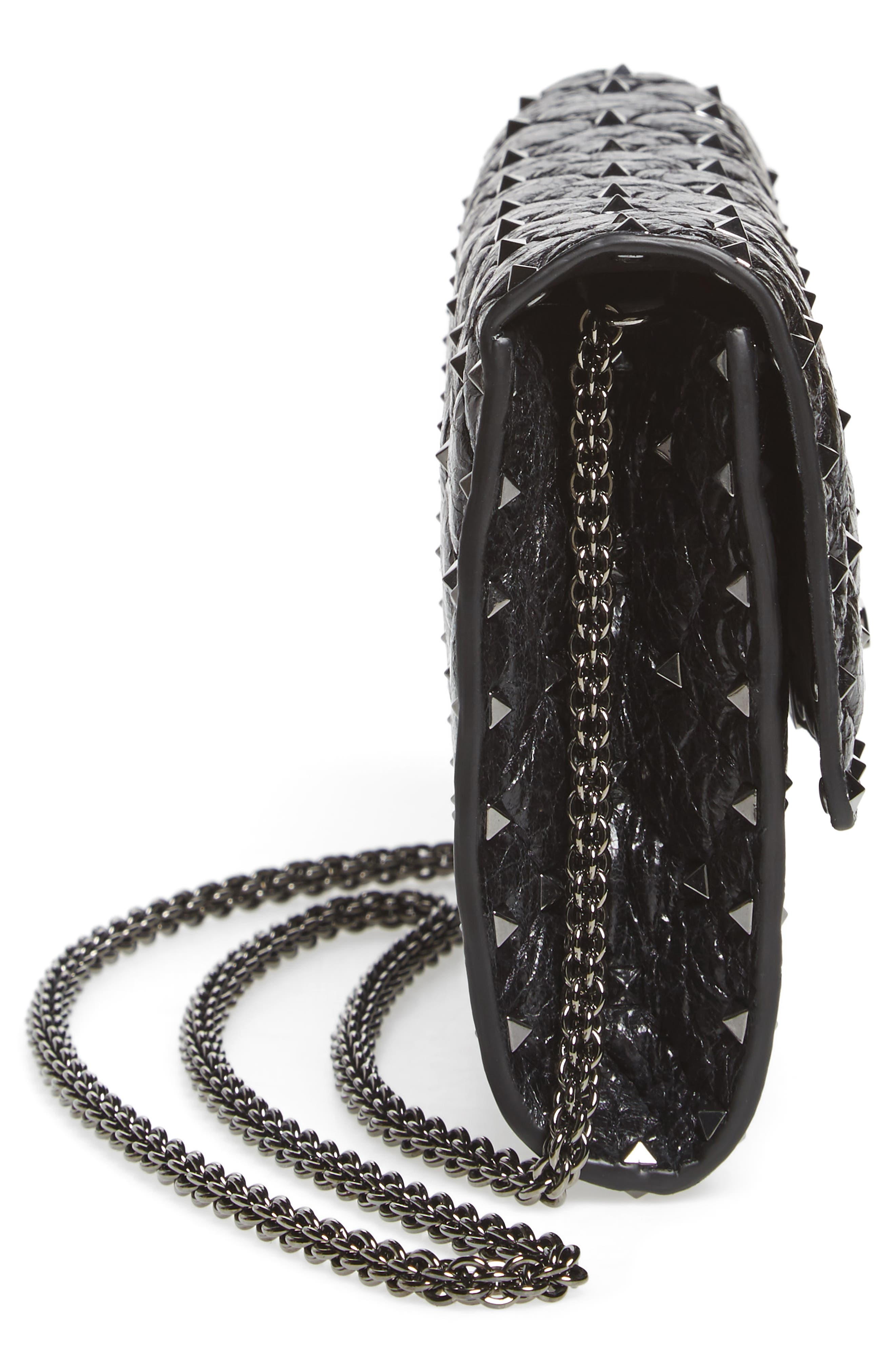 Rockstud Spike Wallet on a Chain,                             Alternate thumbnail 5, color,                             Black