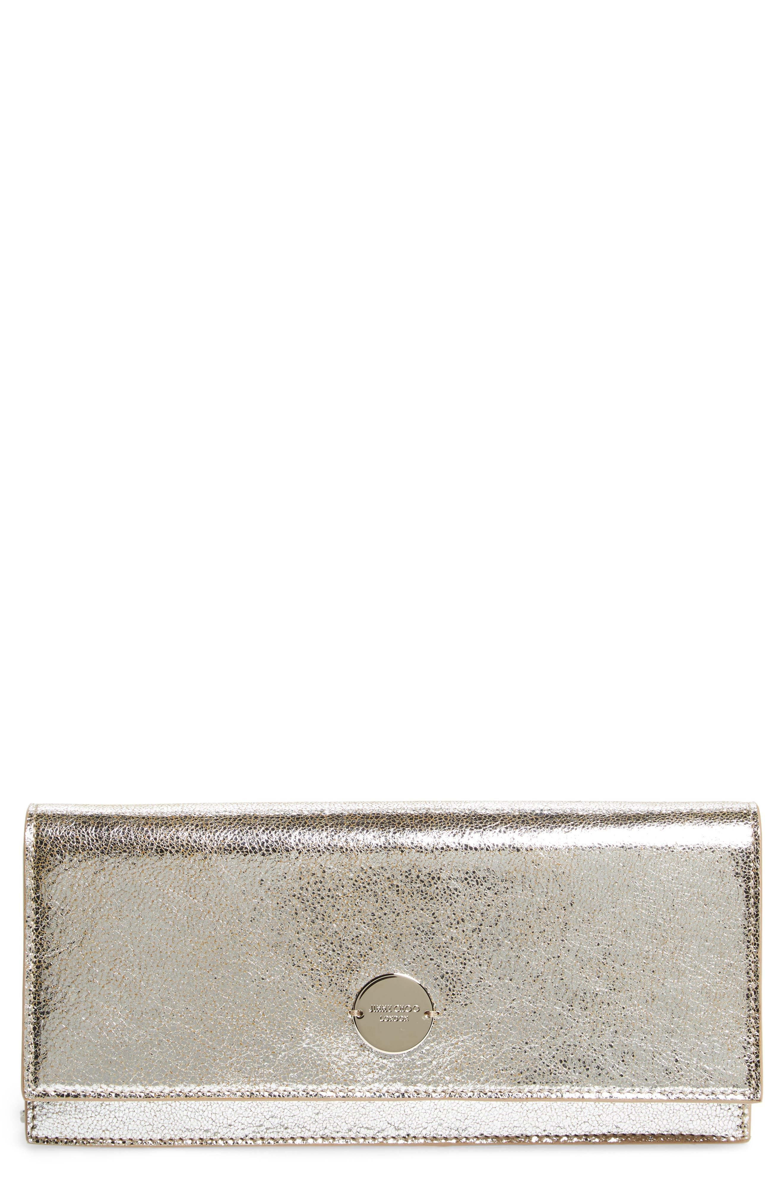 Fie Metallic Leather Clutch,                         Main,                         color, Champagne