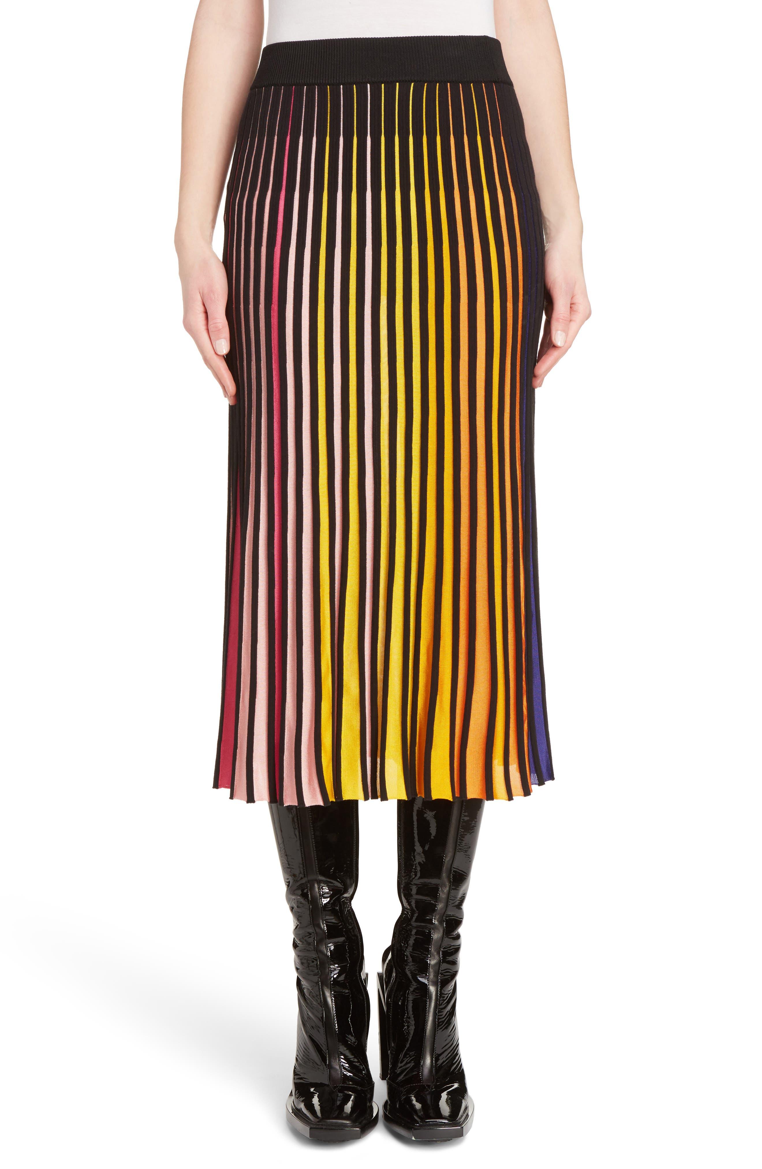 Rib Knit Flare Skirt,                             Main thumbnail 1, color,                             Multicolor