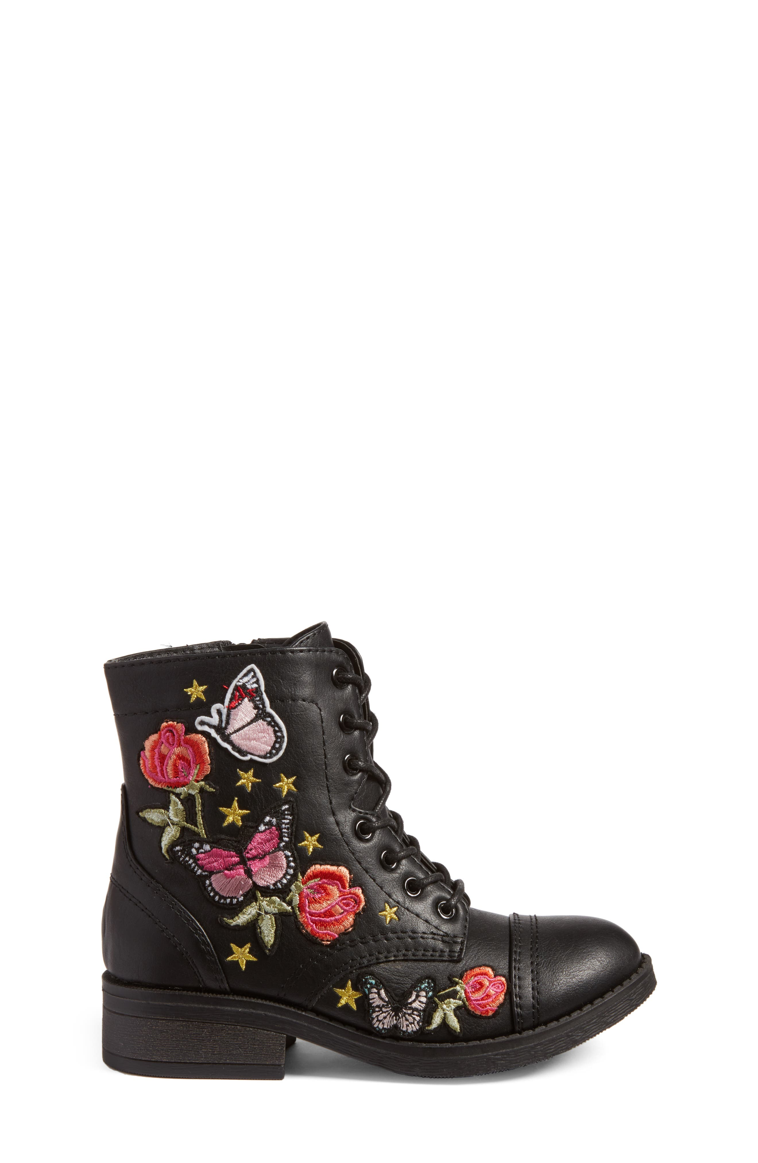 Roaring Embroidered Combat Boot,                             Alternate thumbnail 3, color,                             Black Faux Leather