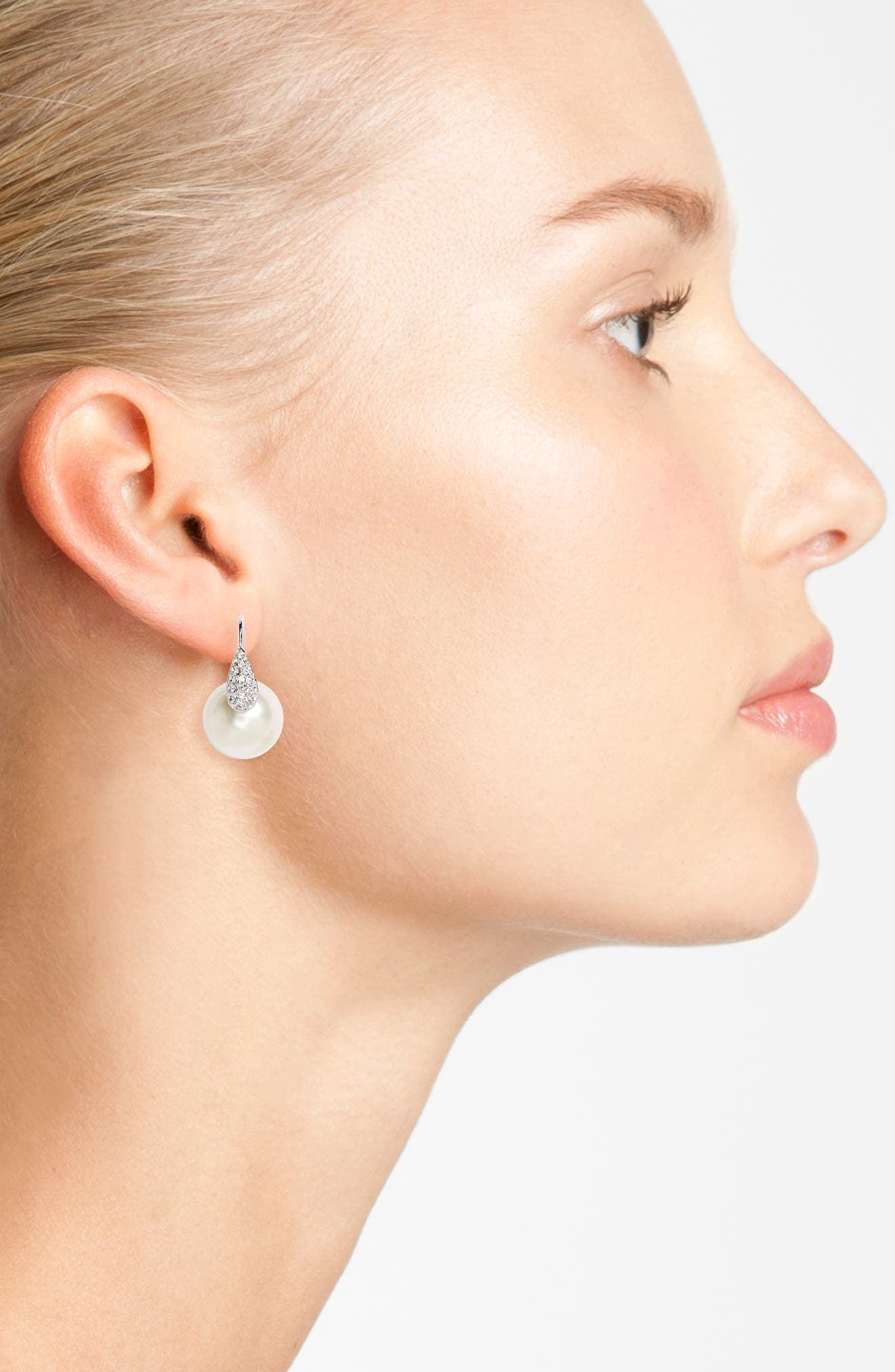 Imitation Pearl & Swarovski Crystal Threader Earrings,                             Alternate thumbnail 2, color,                             Ivory Pearl / Silver