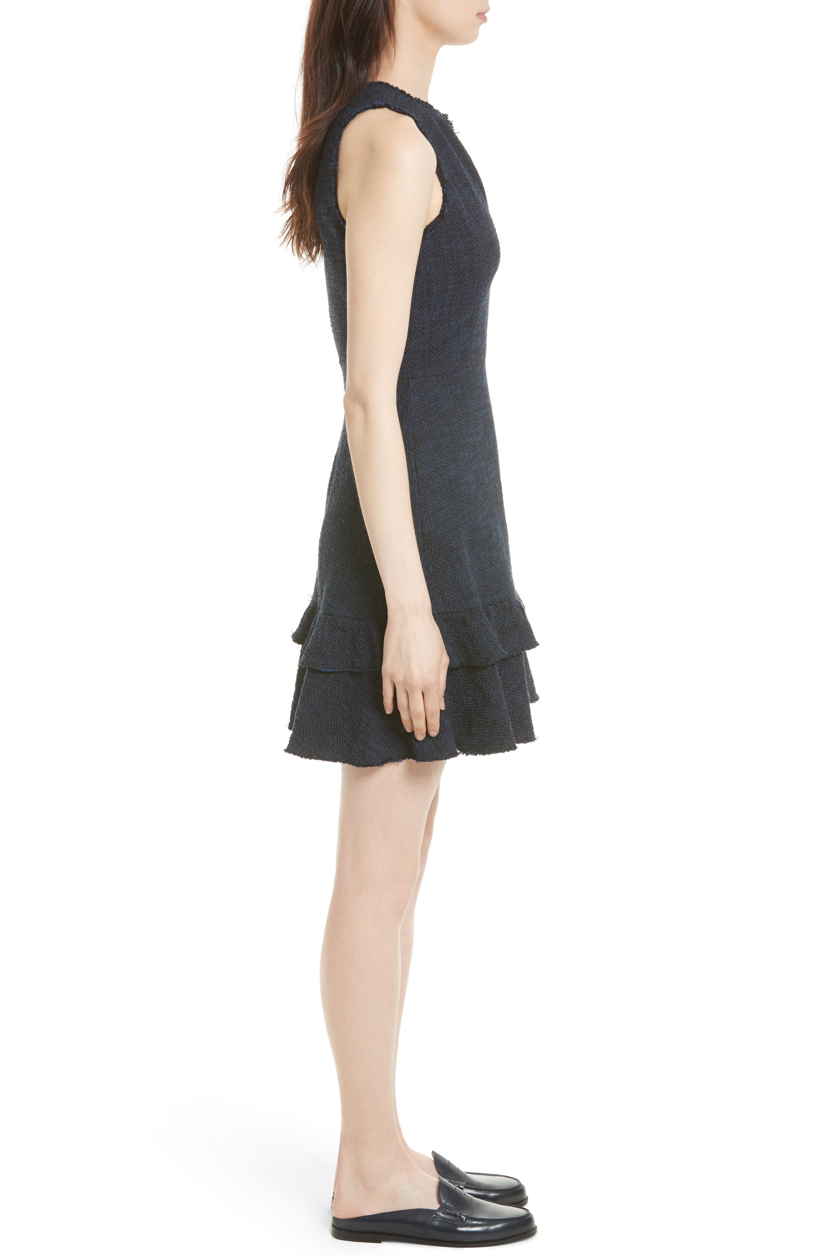 Ruffle Hem Tweed Dress,                             Alternate thumbnail 3, color,                             Royal/ Black