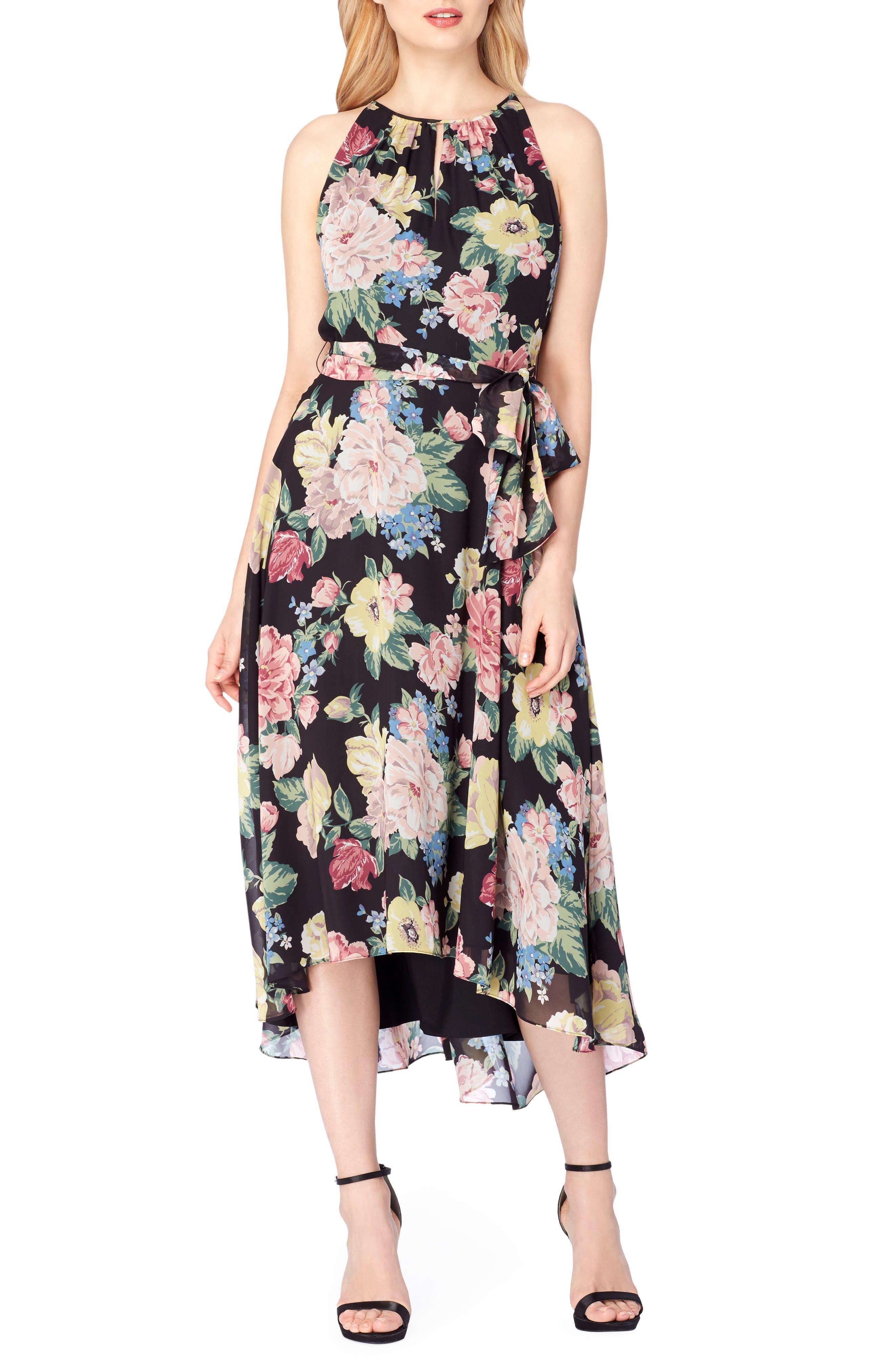 TAHARI Faux Wrap Midi Dress
