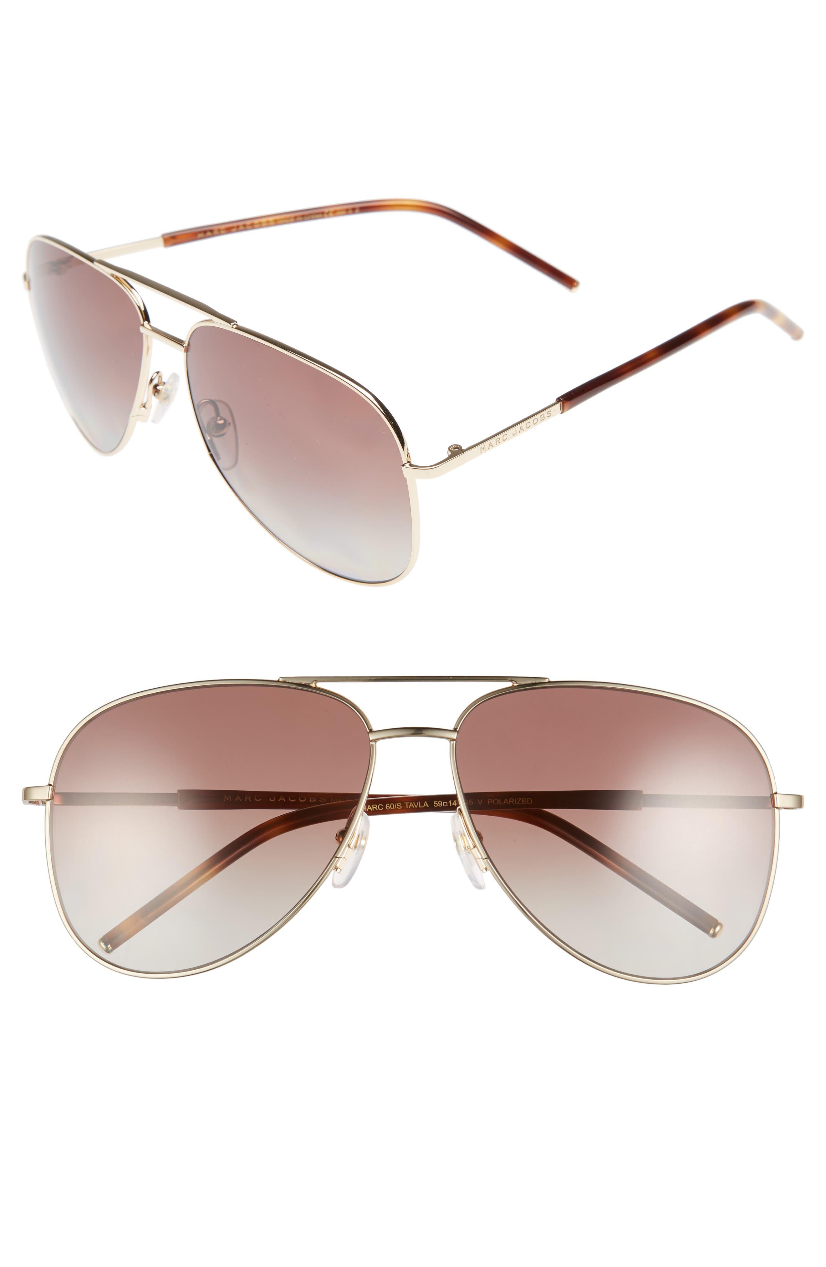 MARC JACOBS 59mm Gradient Polarized Aviator Sunglasses
