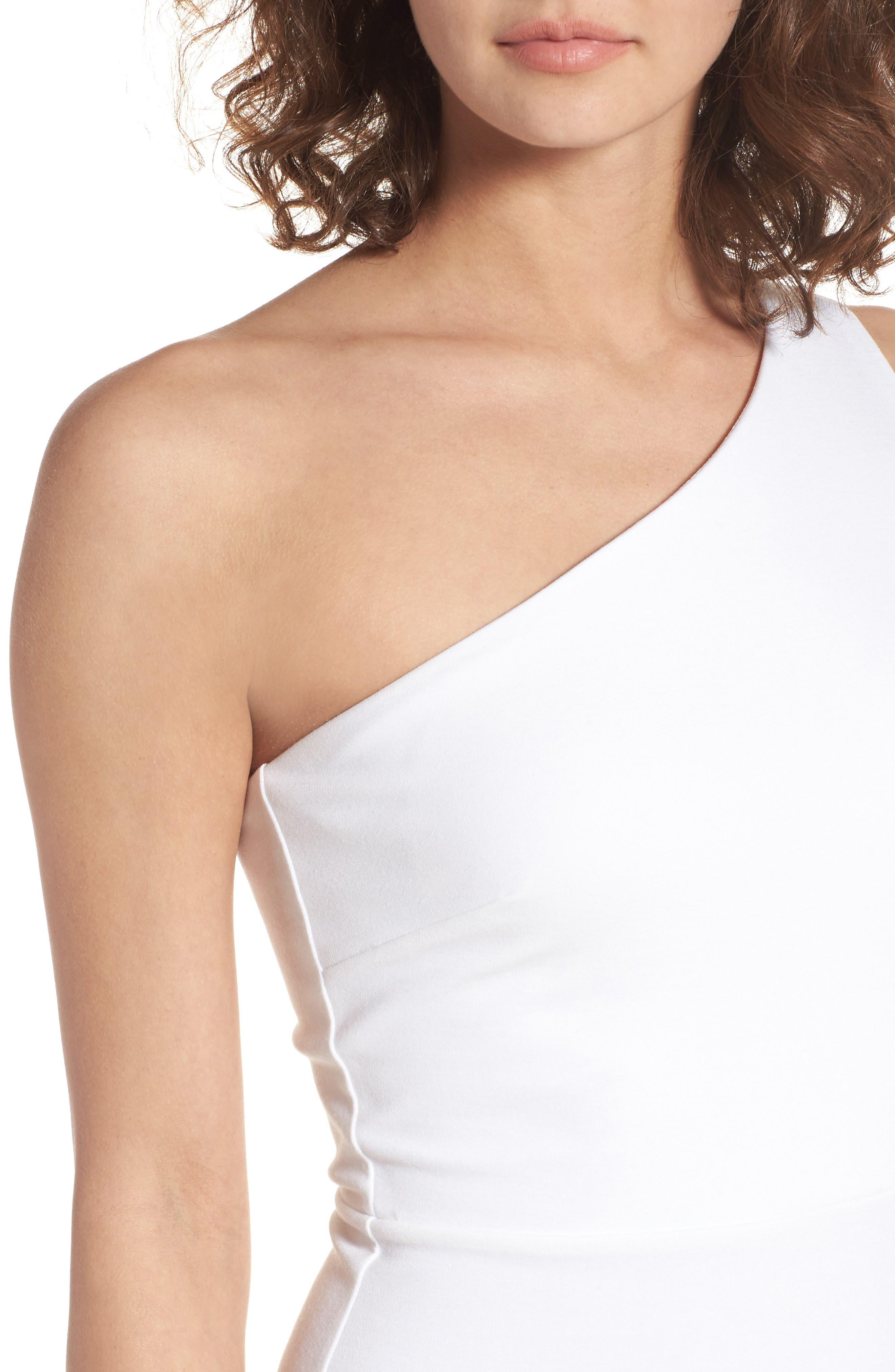 One-Shoulder Body-Con Minidress,                             Alternate thumbnail 4, color,                             Ivory
