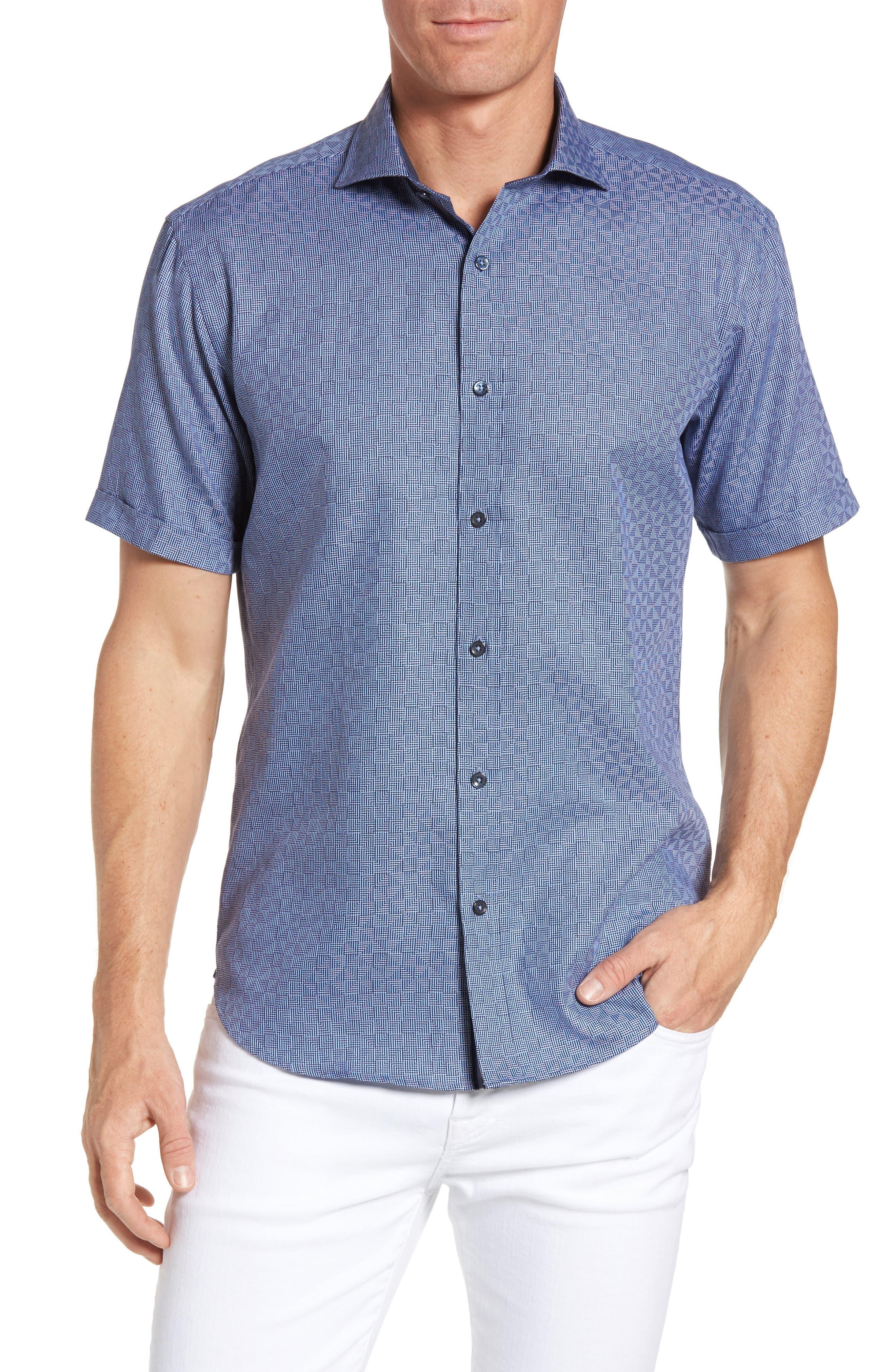 BUGATCHI Shaped Fit Geo Print Short Sleeve Sport Shirt