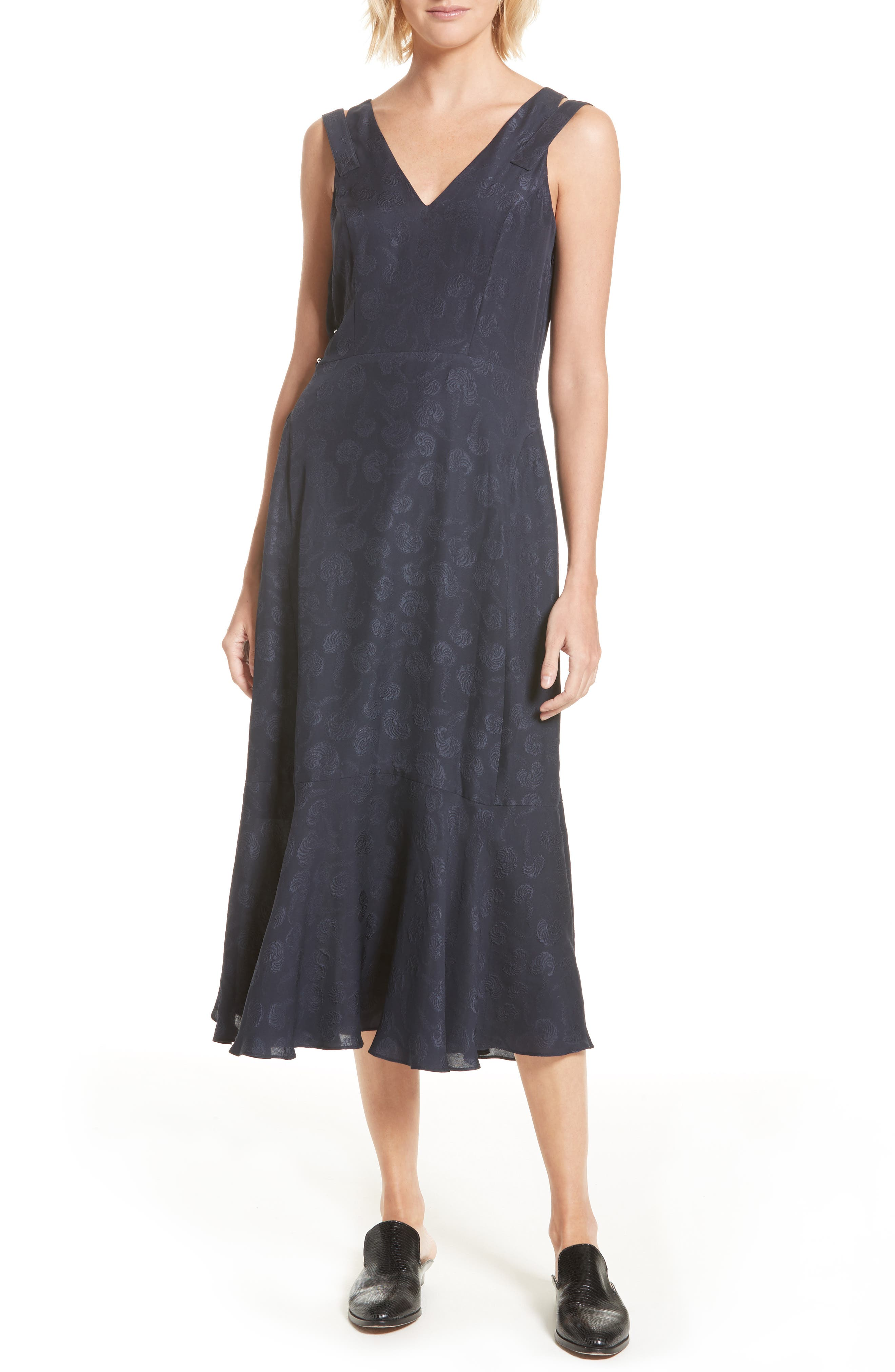 Barbell Detail Silk Jacquard Midi Dress,                         Main,                         color, Midnight