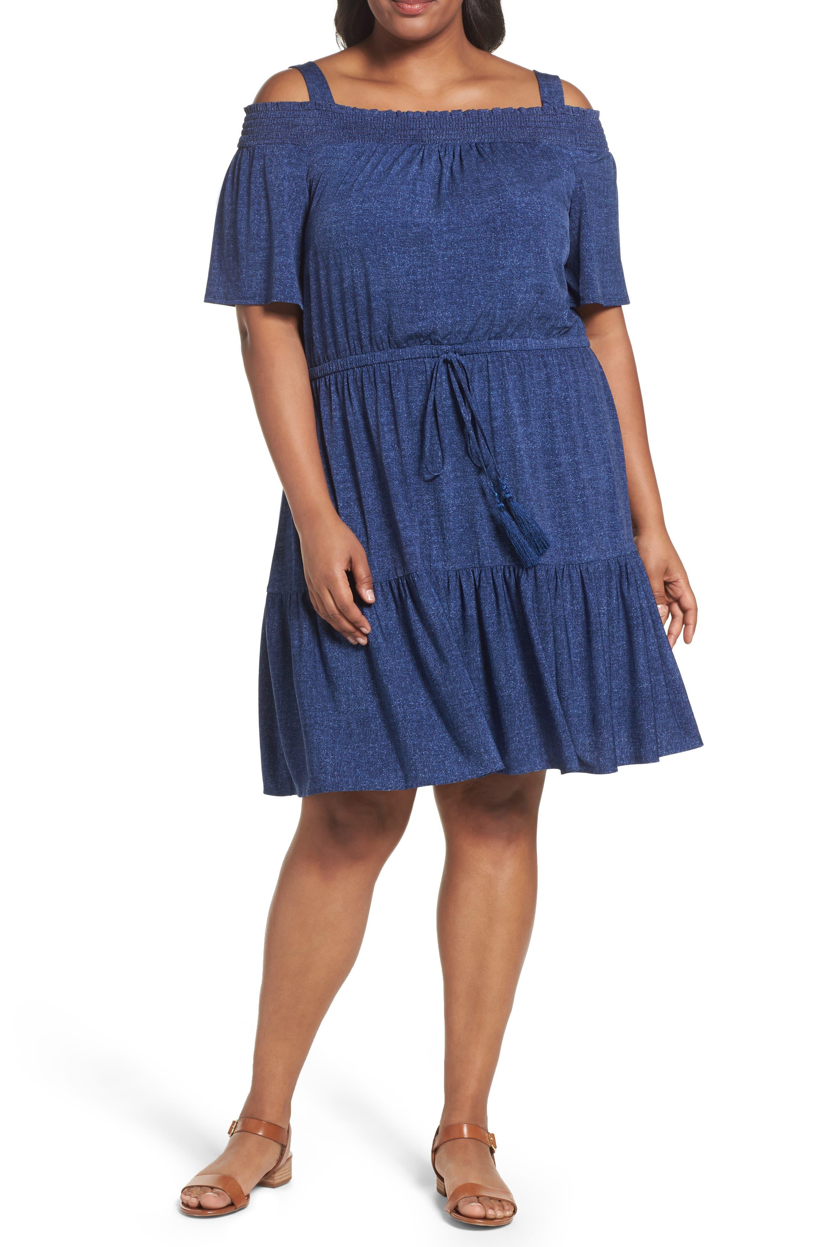 London Times Cold Shoulder Blouson Dress (Plus Size)