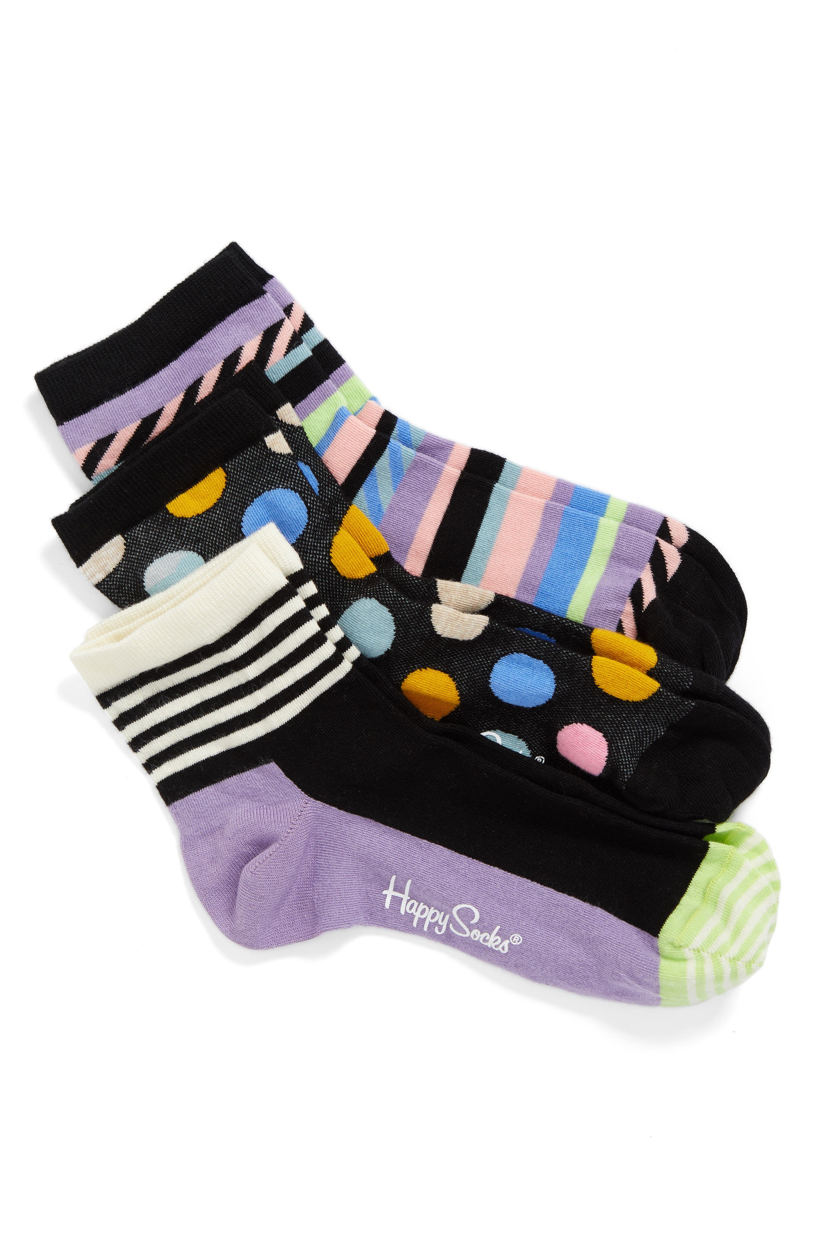 Happy Socks Assorted 3-Pack Ankle Socks