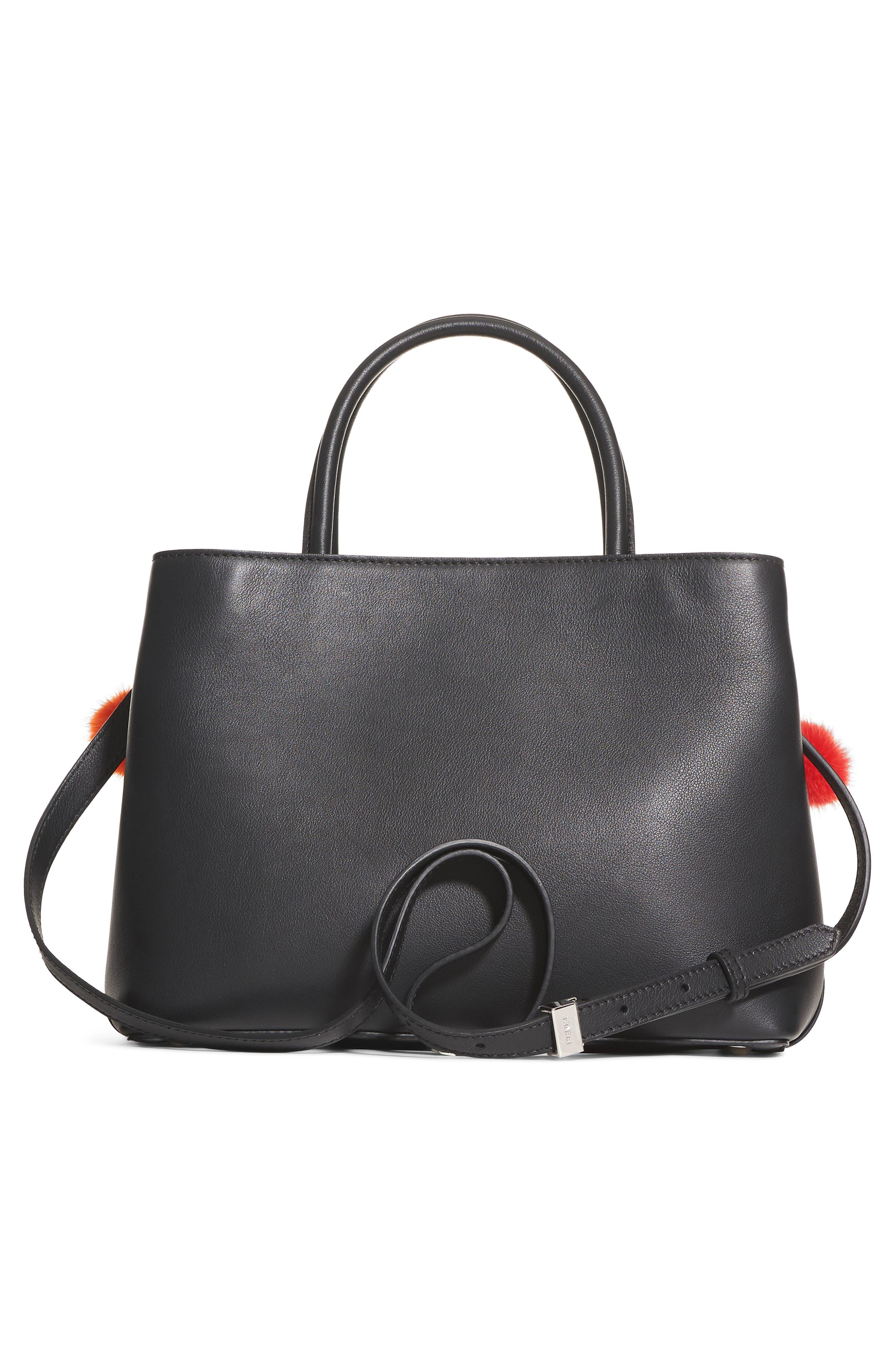 Petite2Jours Genuine Mink Fur & Leather Shopper,                             Alternate thumbnail 2, color,                             Black Multi