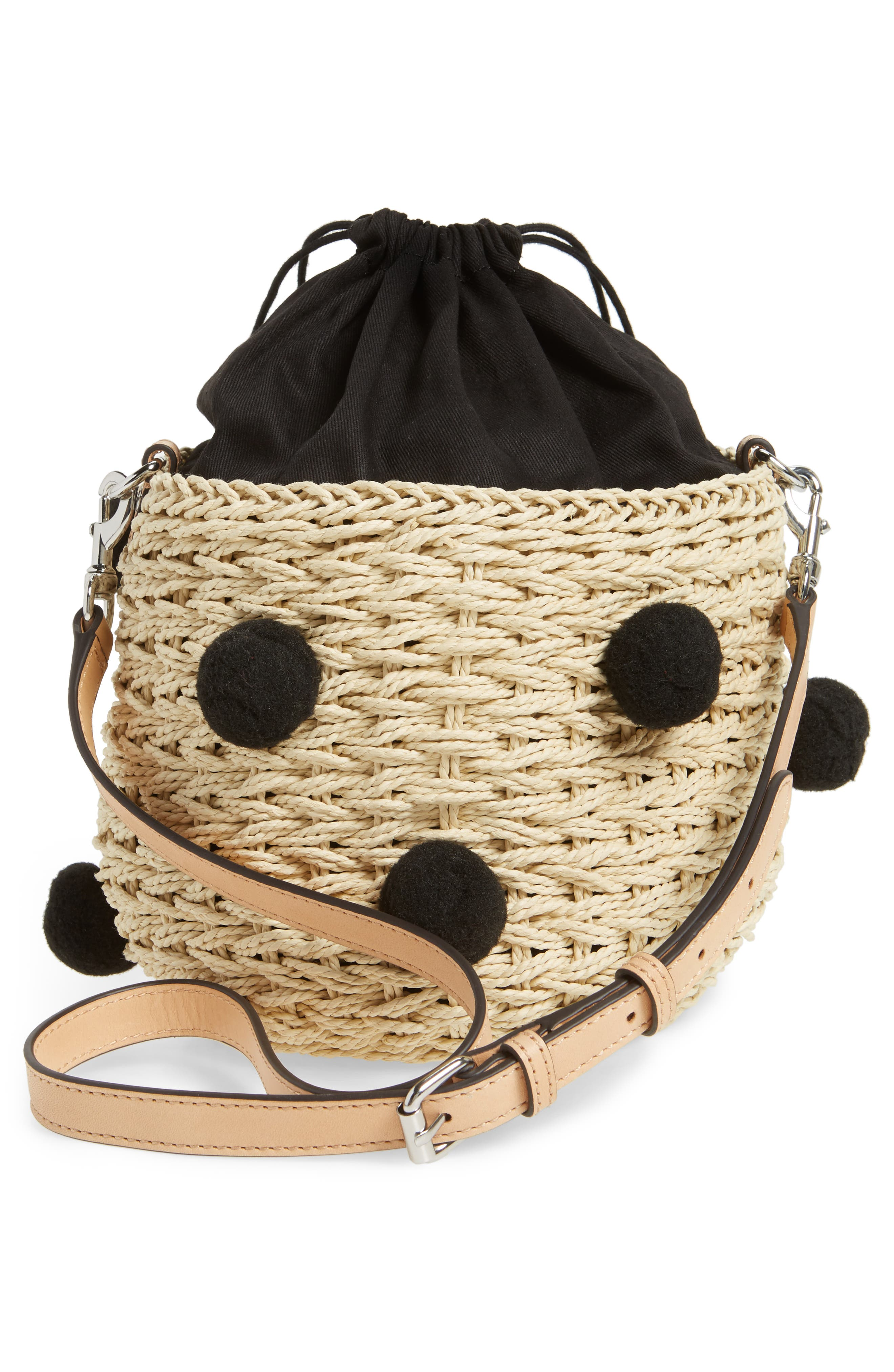 Straw Pom Pom Bucket Bag,                             Alternate thumbnail 3, color,                             Natural