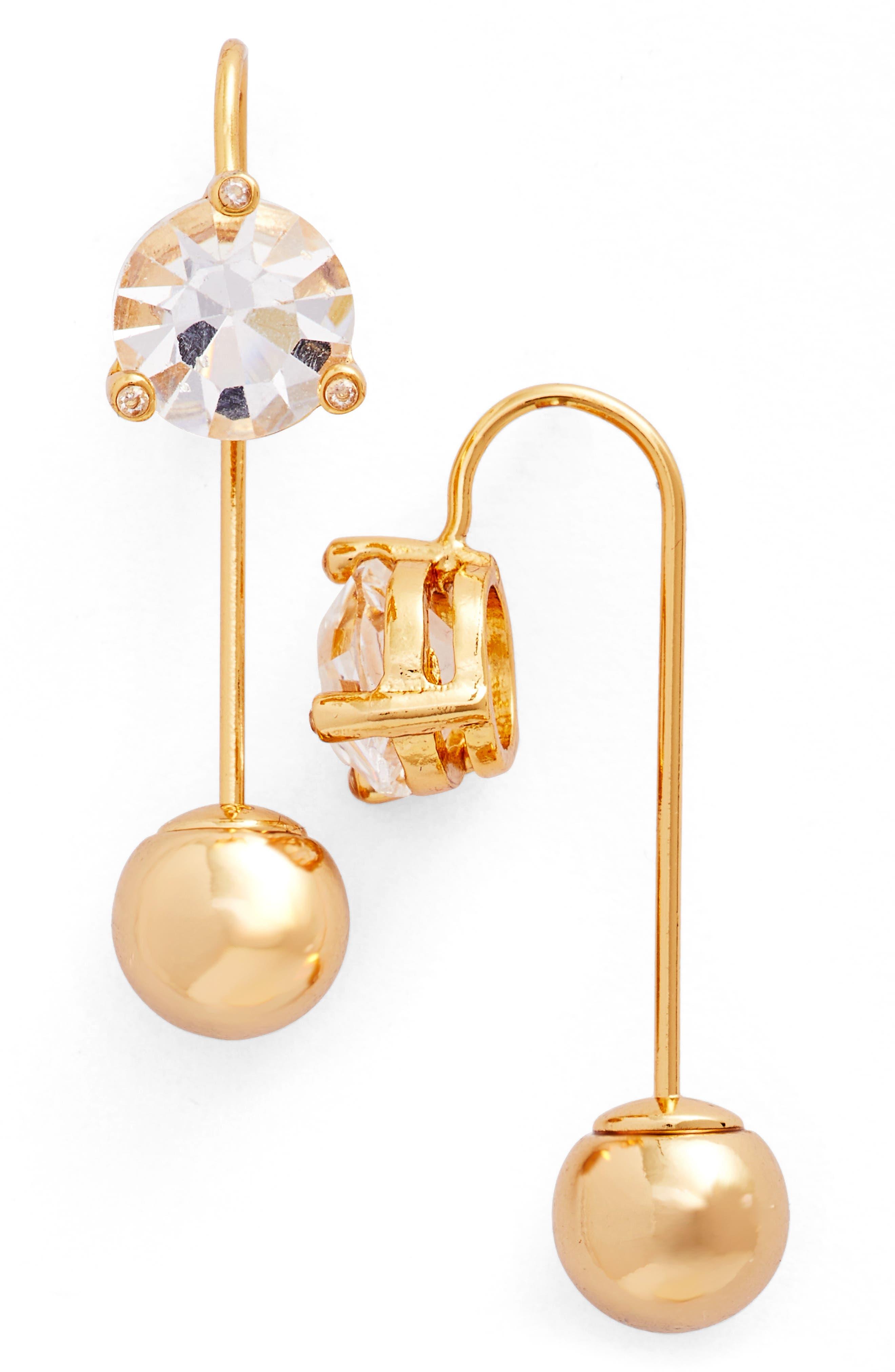 hanger crystal threader earrings,                         Main,                         color, Clear