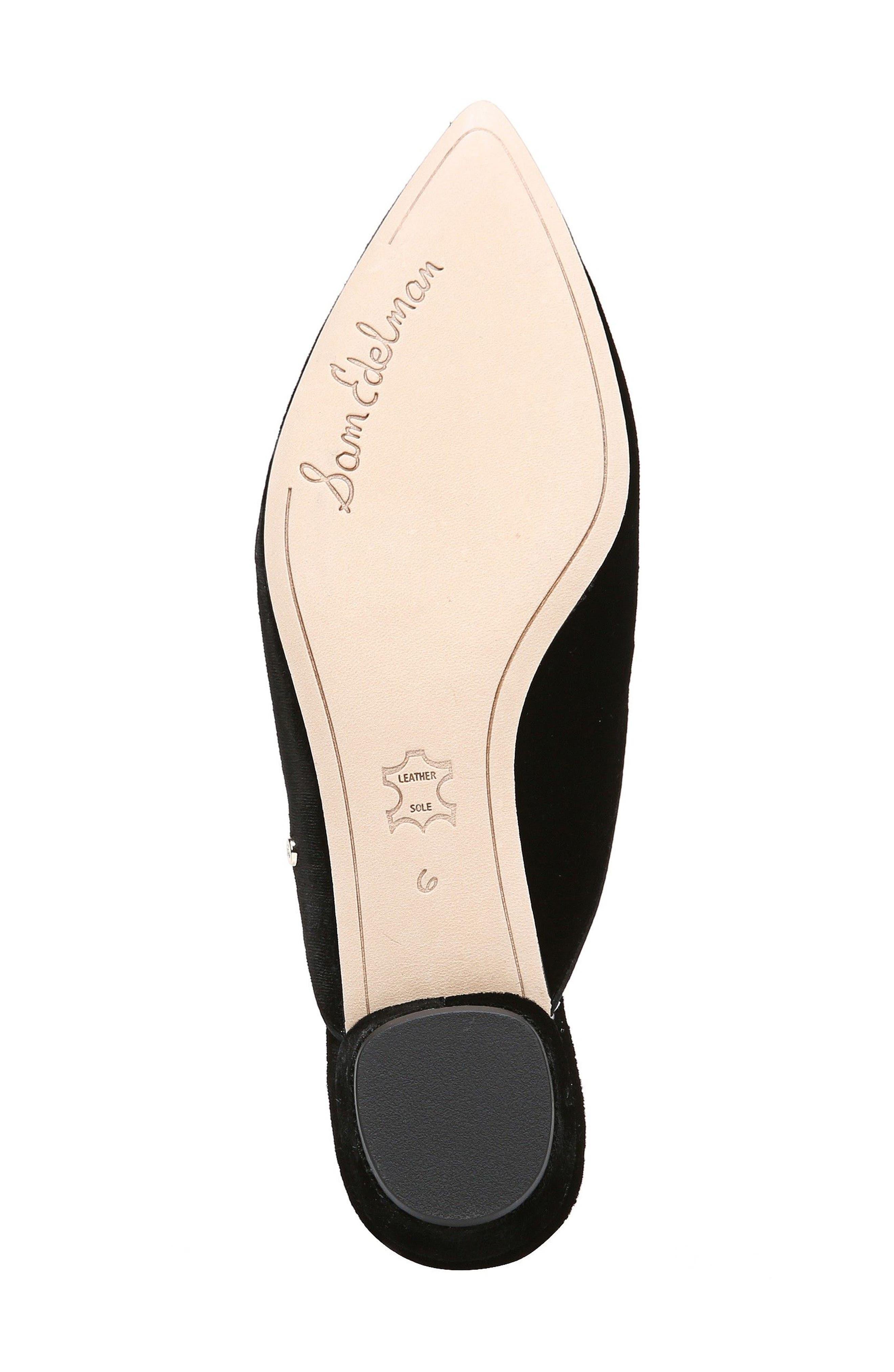 Ansley Pointy Toe Loafer Mule,                             Alternate thumbnail 6, color,                             Black Velvet