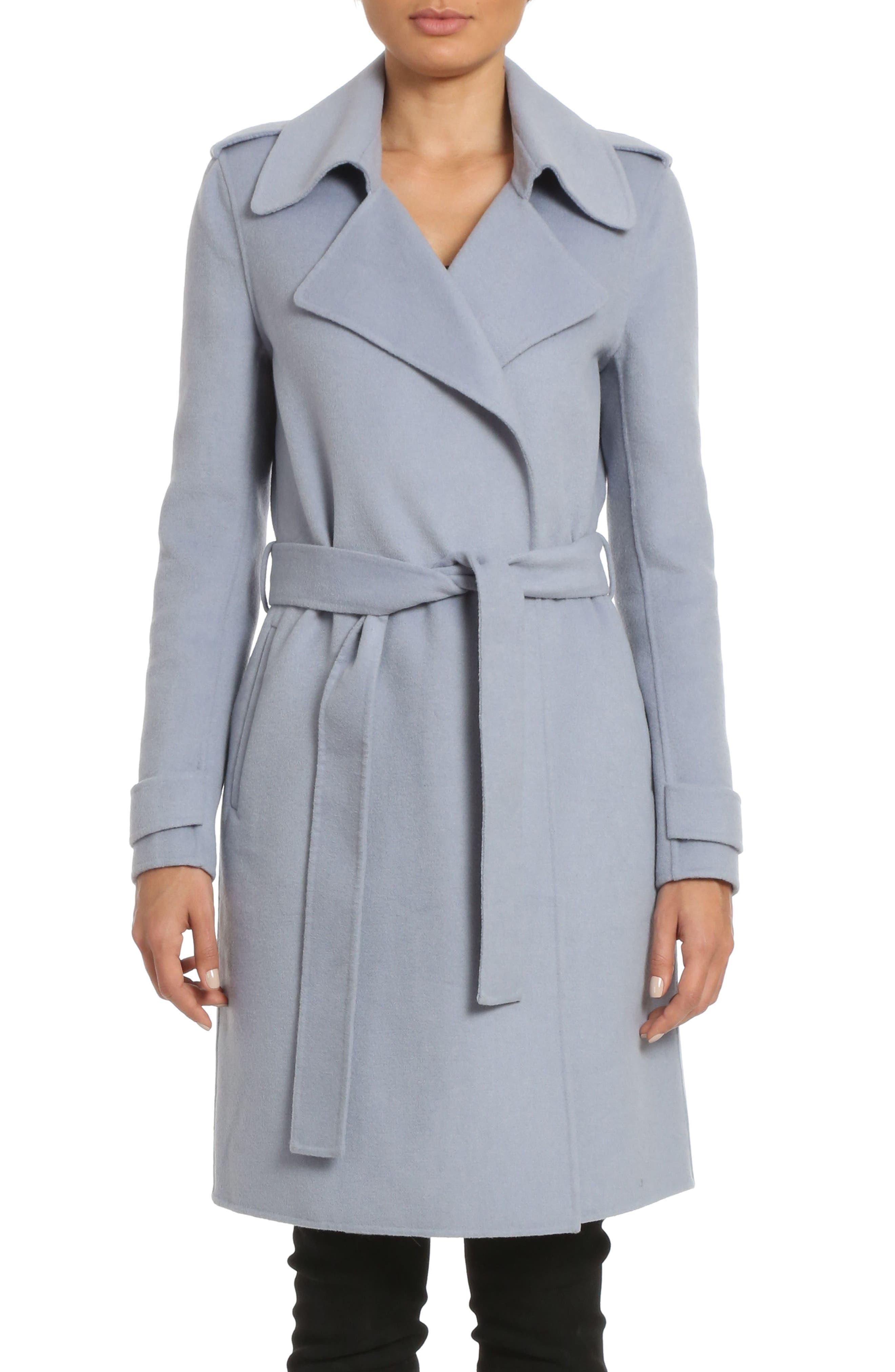 Badgley Mischka Alexis Double Face Wool Blend Long Wrap Coat