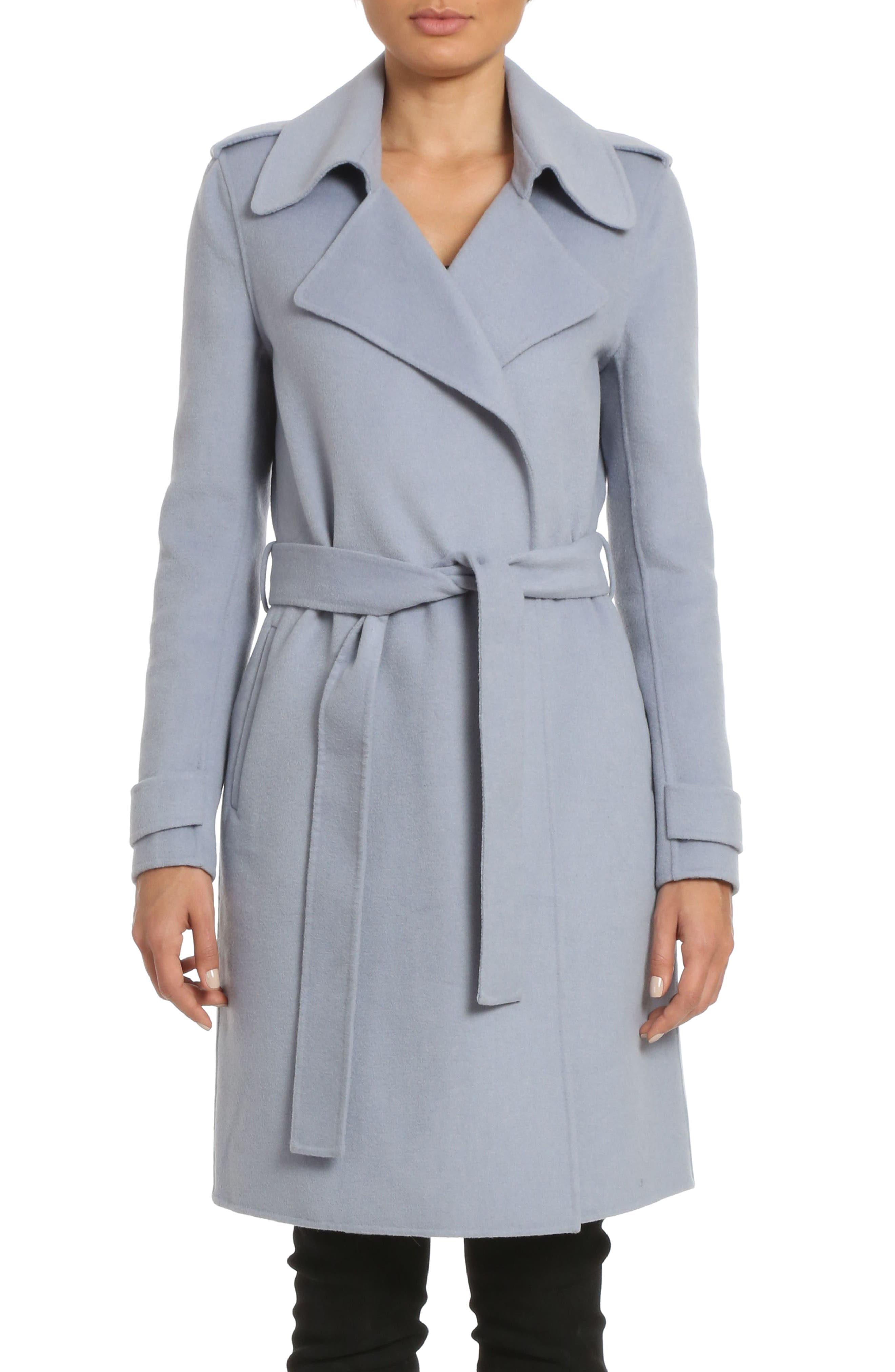 Badgley Mischka Alexis Double Face Wool Blend Long Wrap Coat