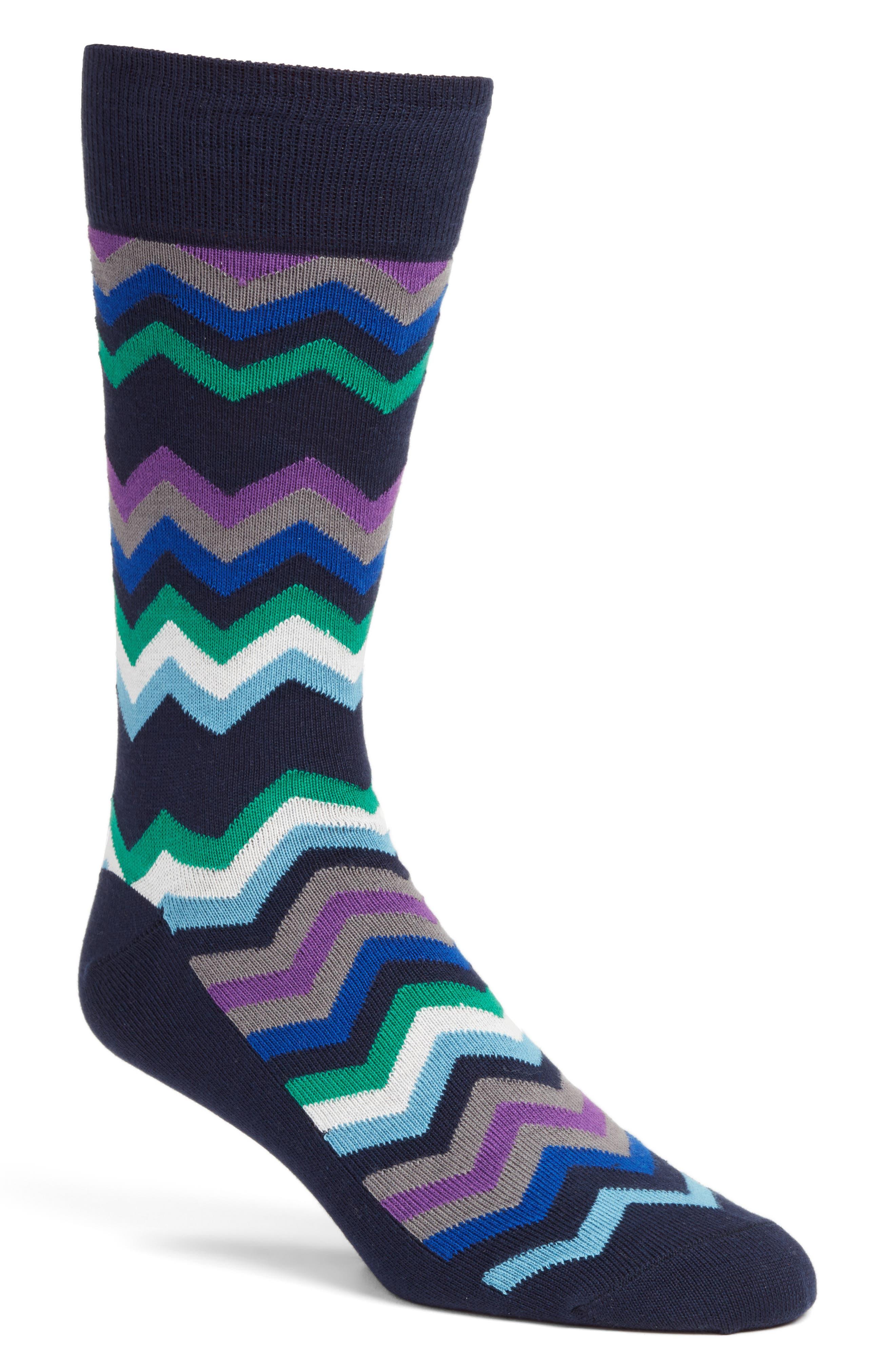 Fleet Chevron Socks,                         Main,                         color, Navy