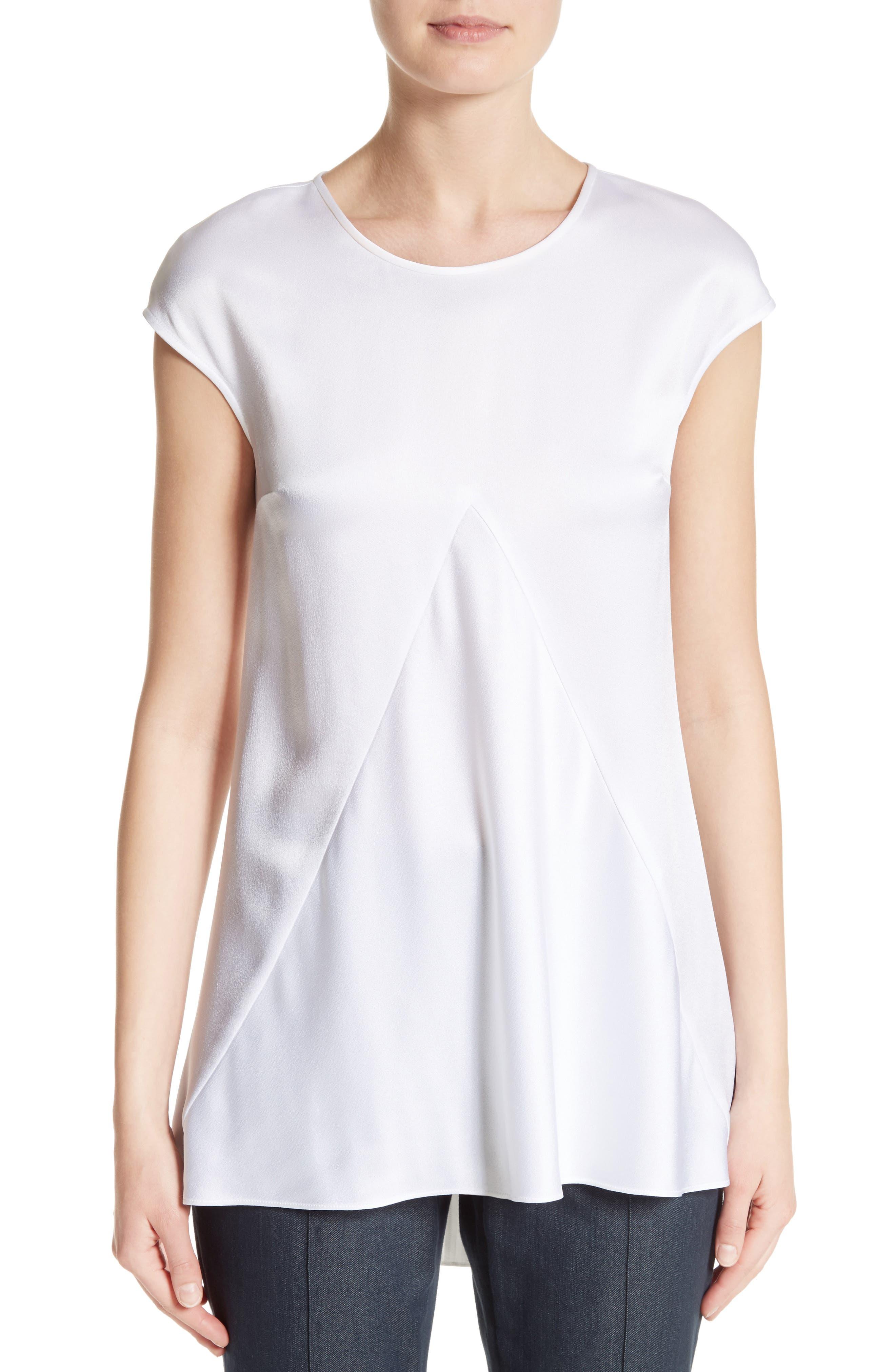 Satin Back Crepe Top,                         Main,                         color, Bianco