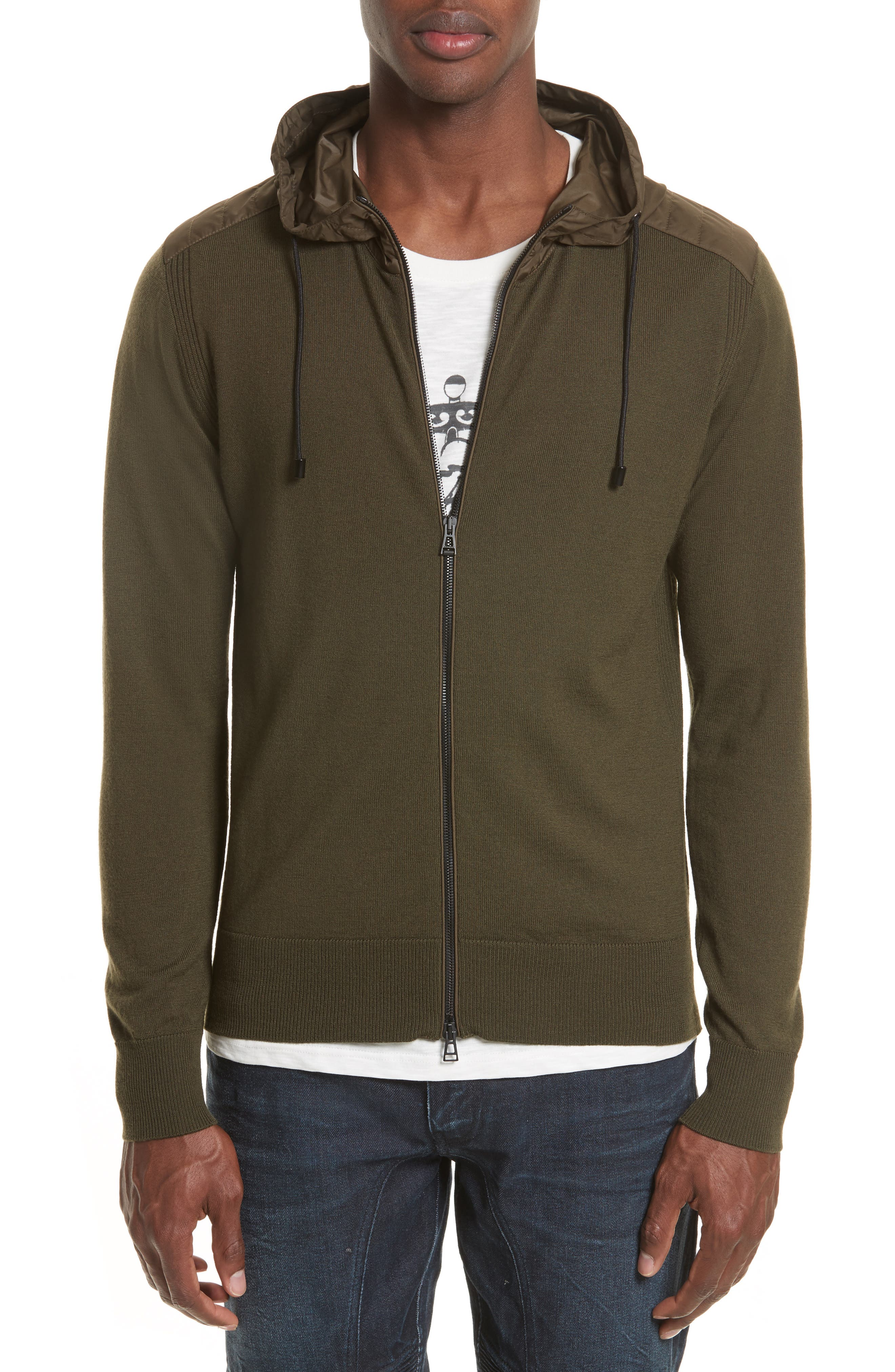 Aldington Mixed Media Full Zip Hoodie,                         Main,                         color, Pale Military Green