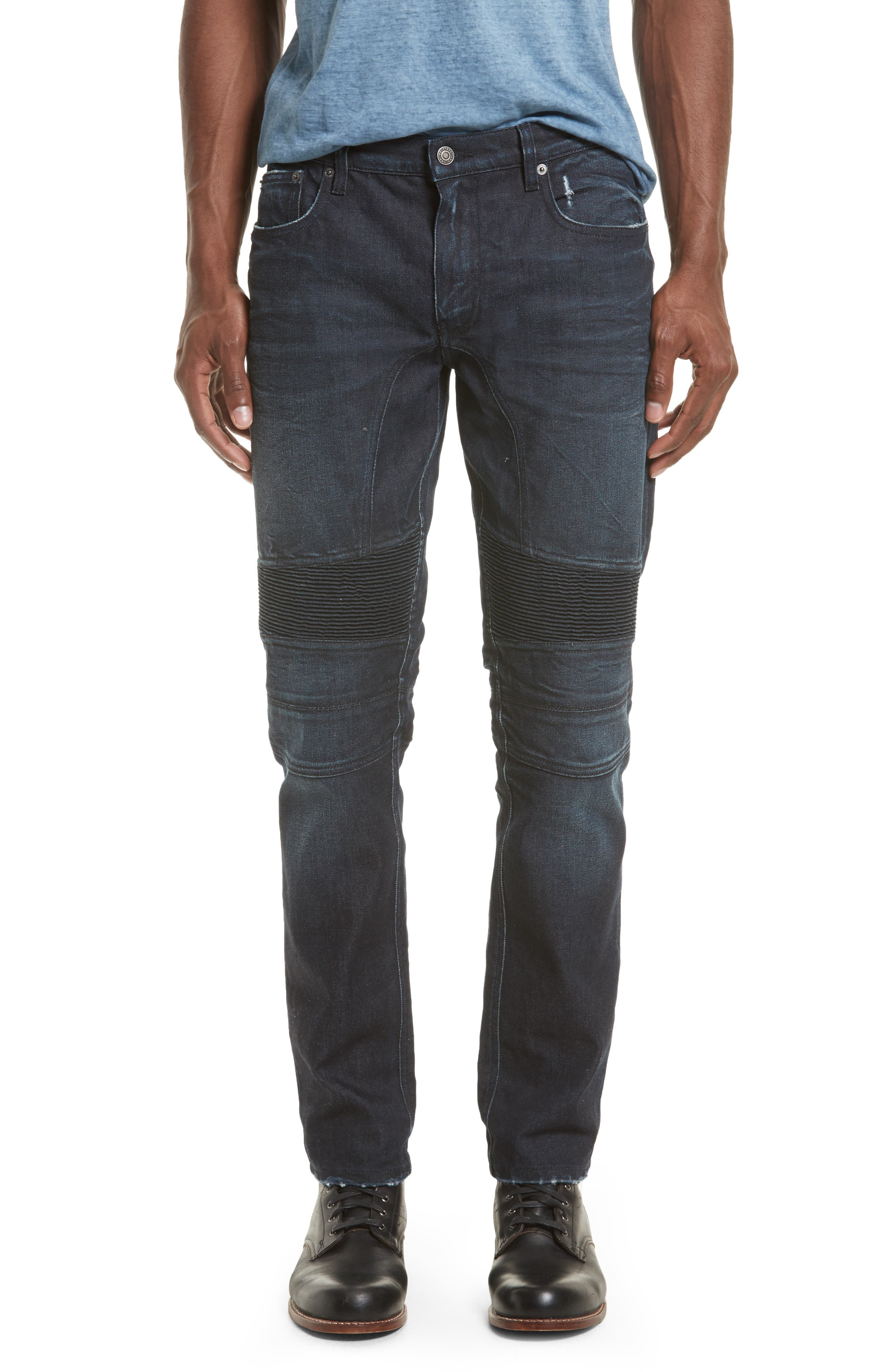 Eastham Washed Moto Jeans,                             Main thumbnail 1, color,                             Faded Indigo Blue