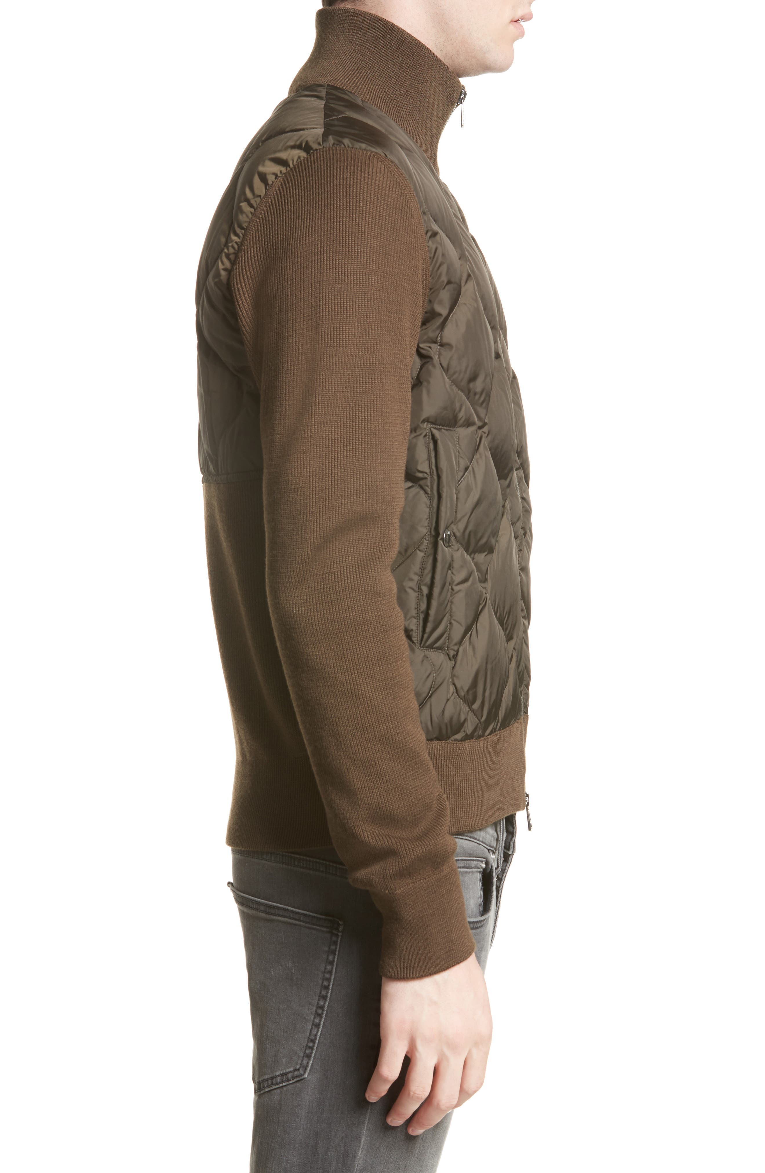 Alternate Image 3  - Moncler Maglione Knit Sleeve Quilted Jacket