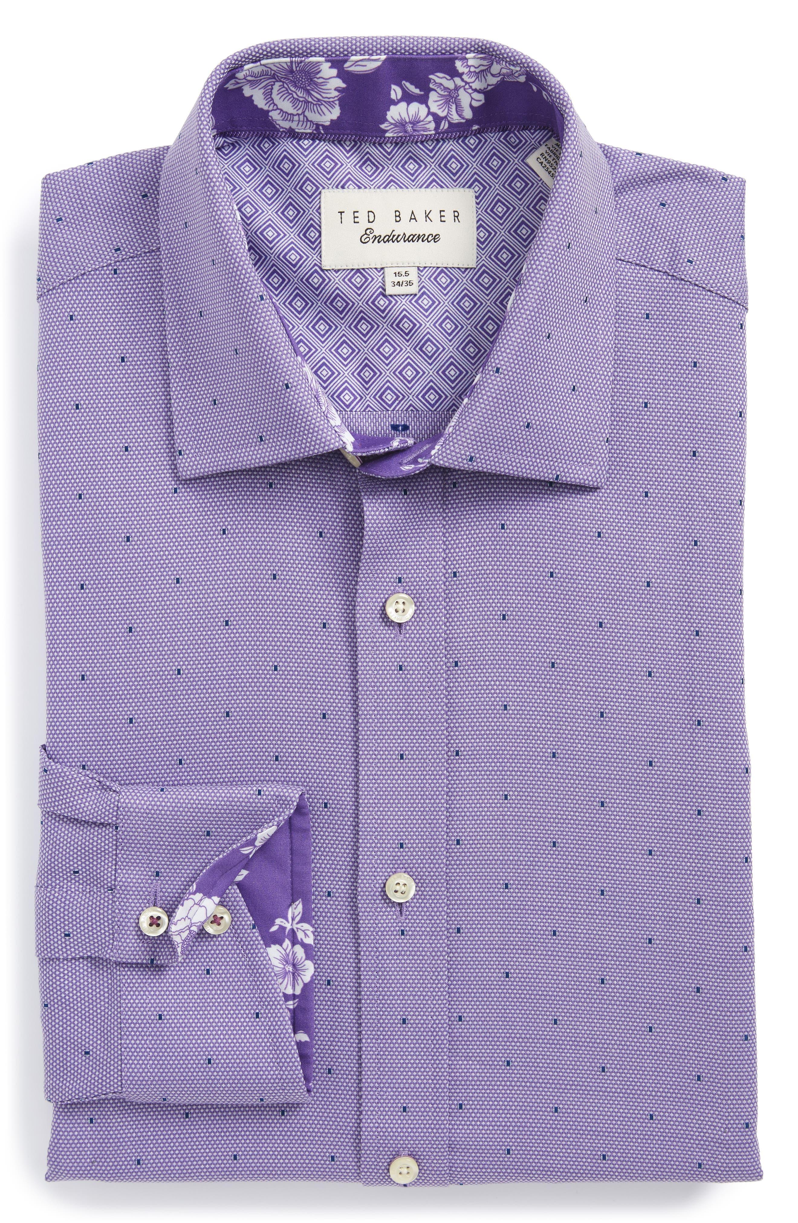 Trim Fit Dot Dress Shirt,                         Main,                         color, Purple
