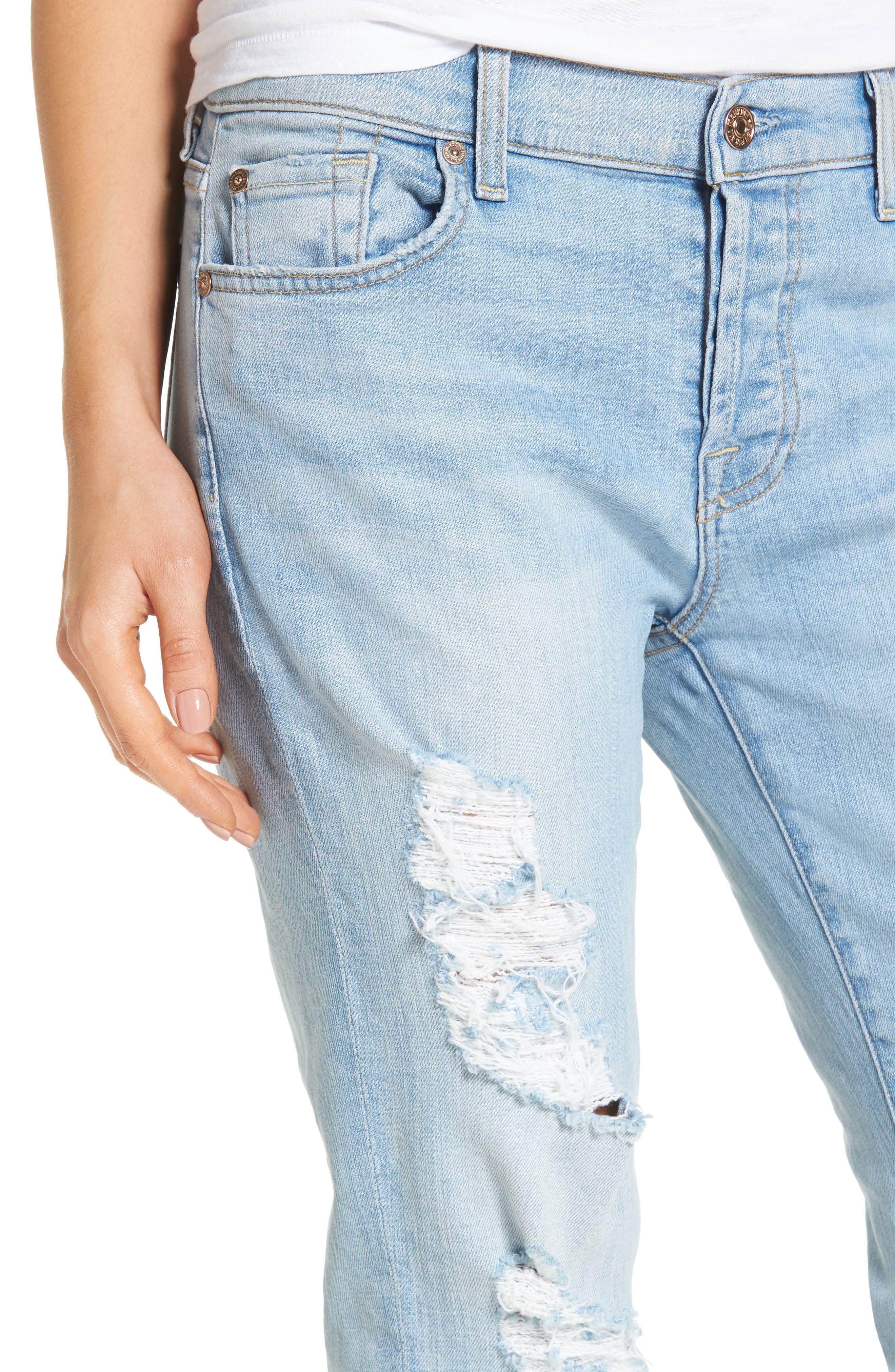 Alternate Image 4  - 7 For All Mankind® 'Josefina' Boyfriend Jeans (Ocean Breeze)
