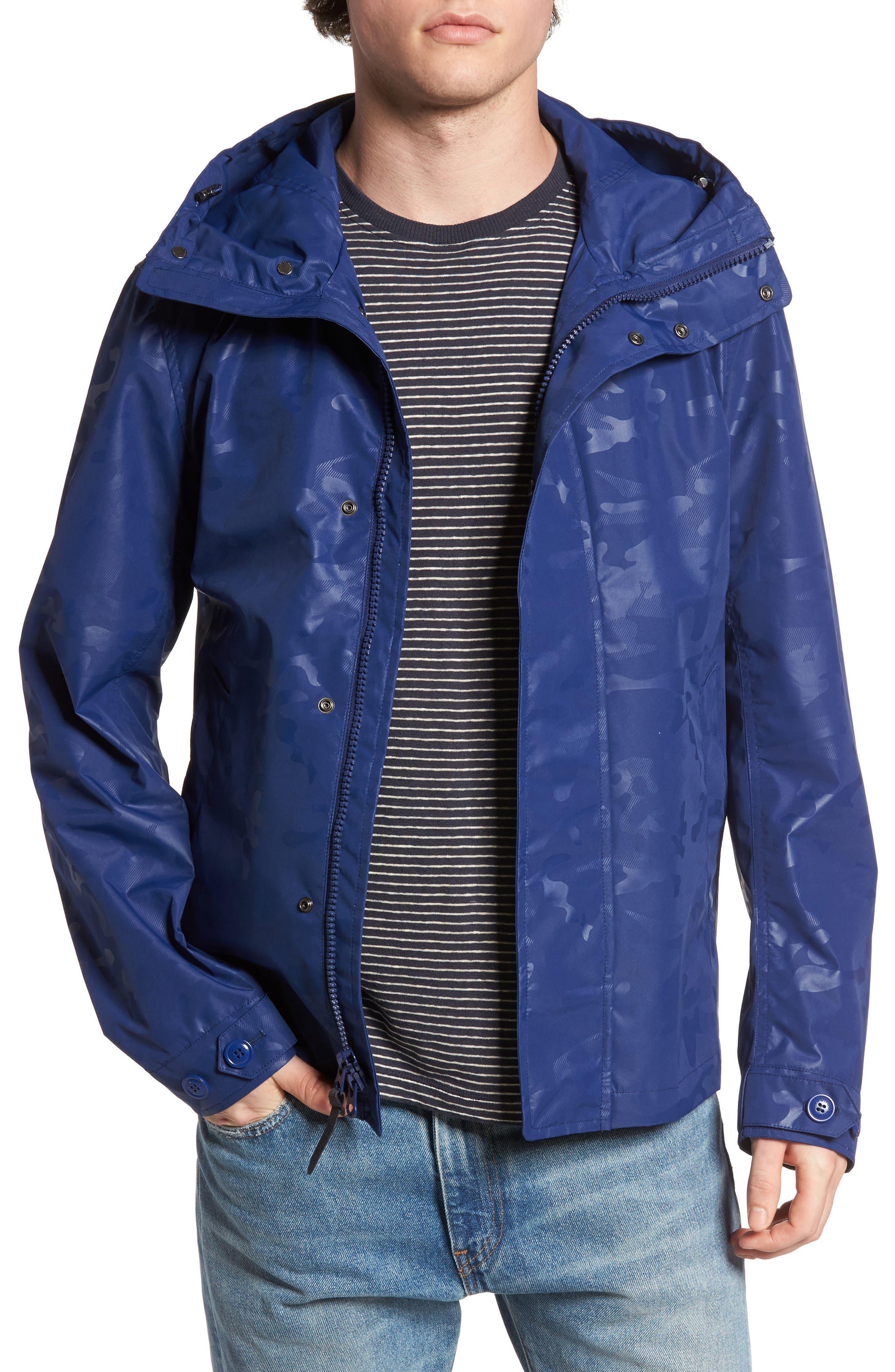 Camou Rudder Waterproof Jacket,                             Main thumbnail 1, color,                             Twilight Blue