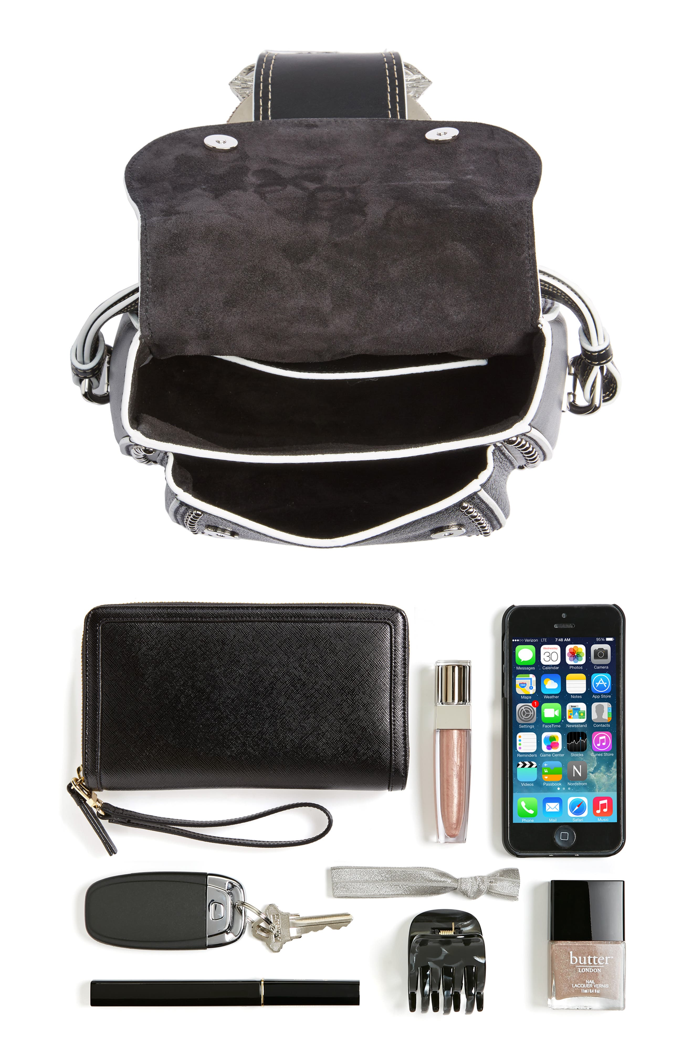 Dahlia Leather Shoulder Bag,                             Alternate thumbnail 7, color,