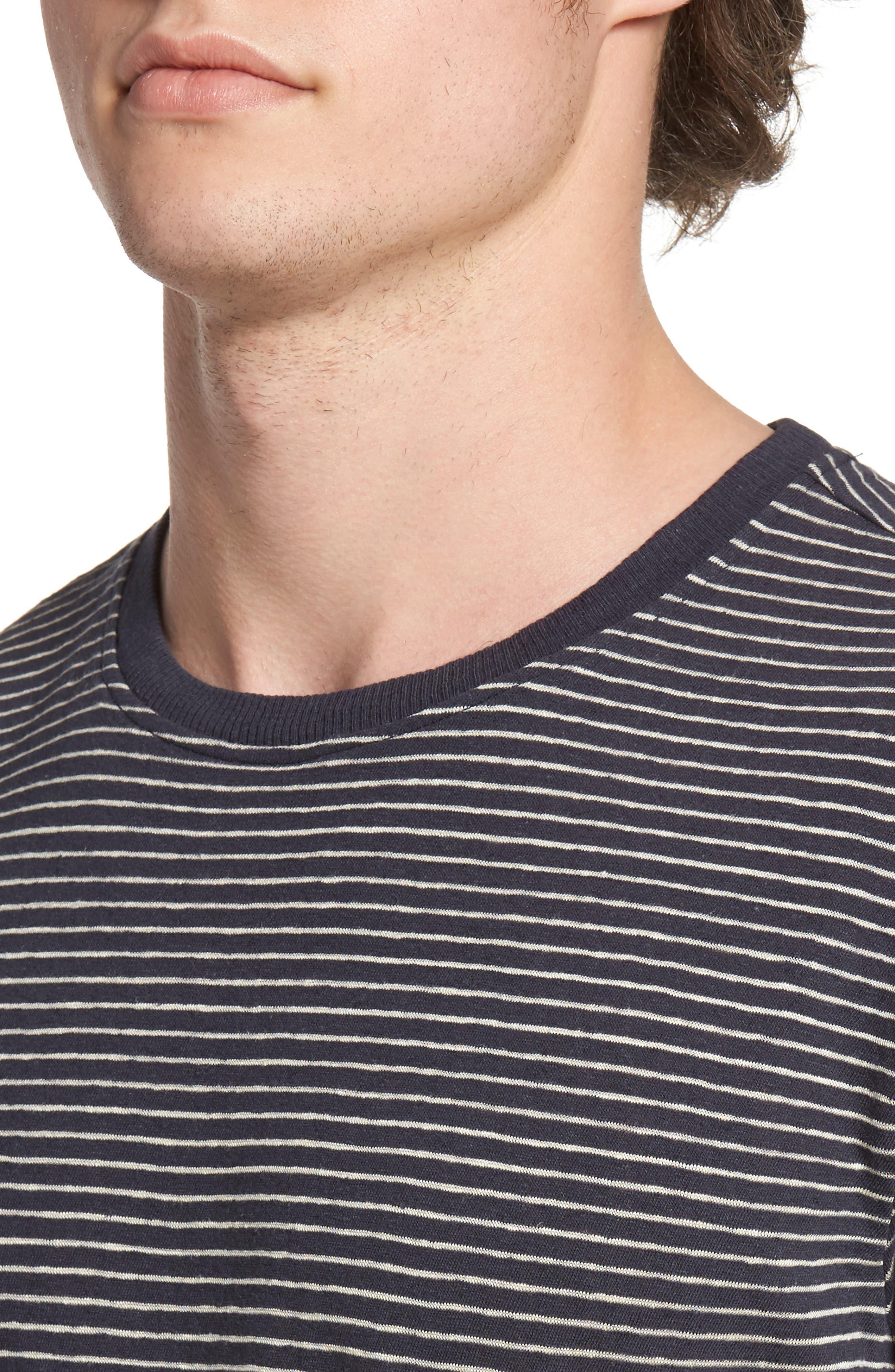 John Rich Stripe Cotton & Linen T-Shirt,                             Alternate thumbnail 4, color,                             Dark Navy Stripe B