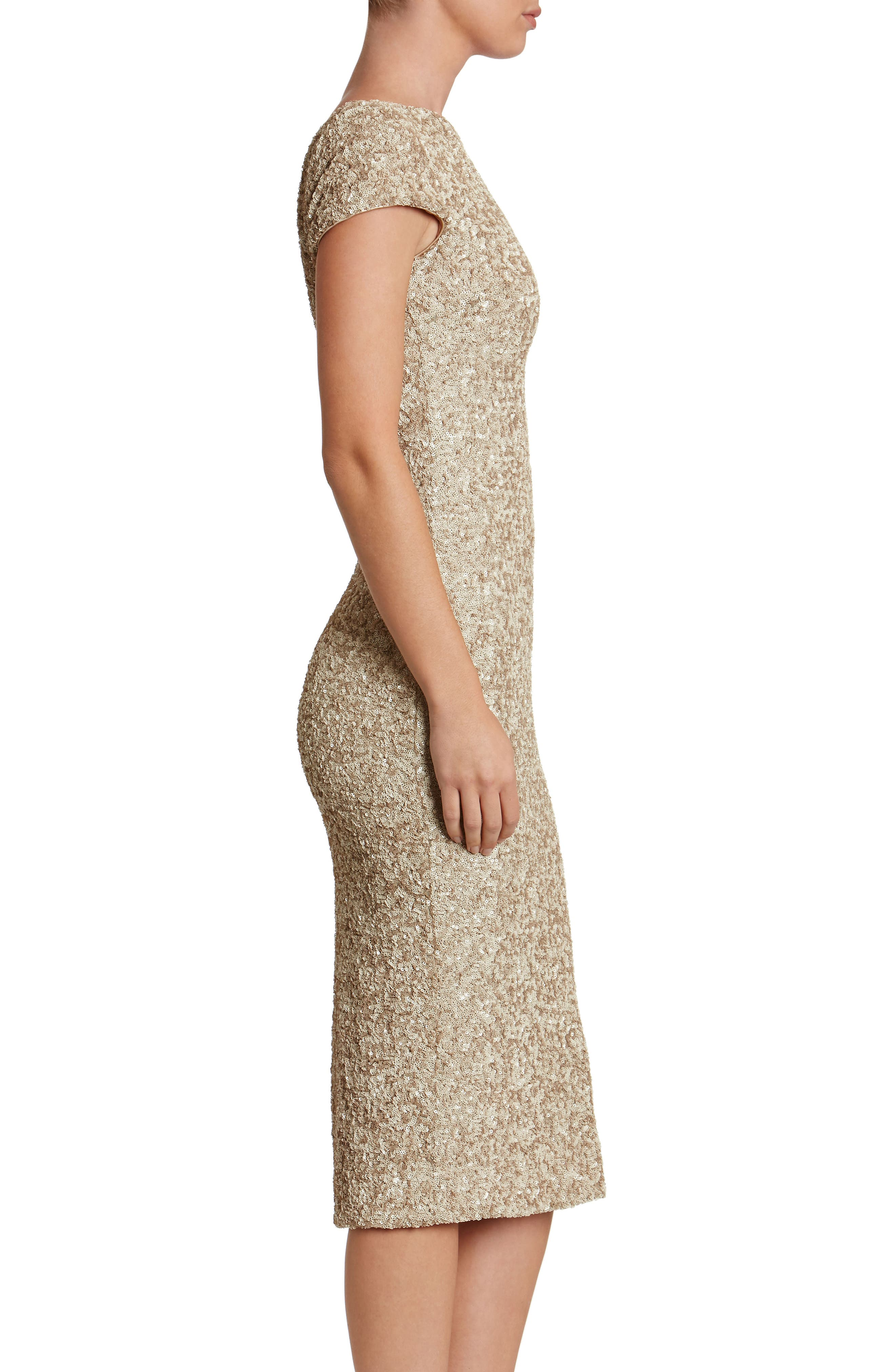 Marcella Sequin Midi Dress,                             Alternate thumbnail 3, color,                             Taupe