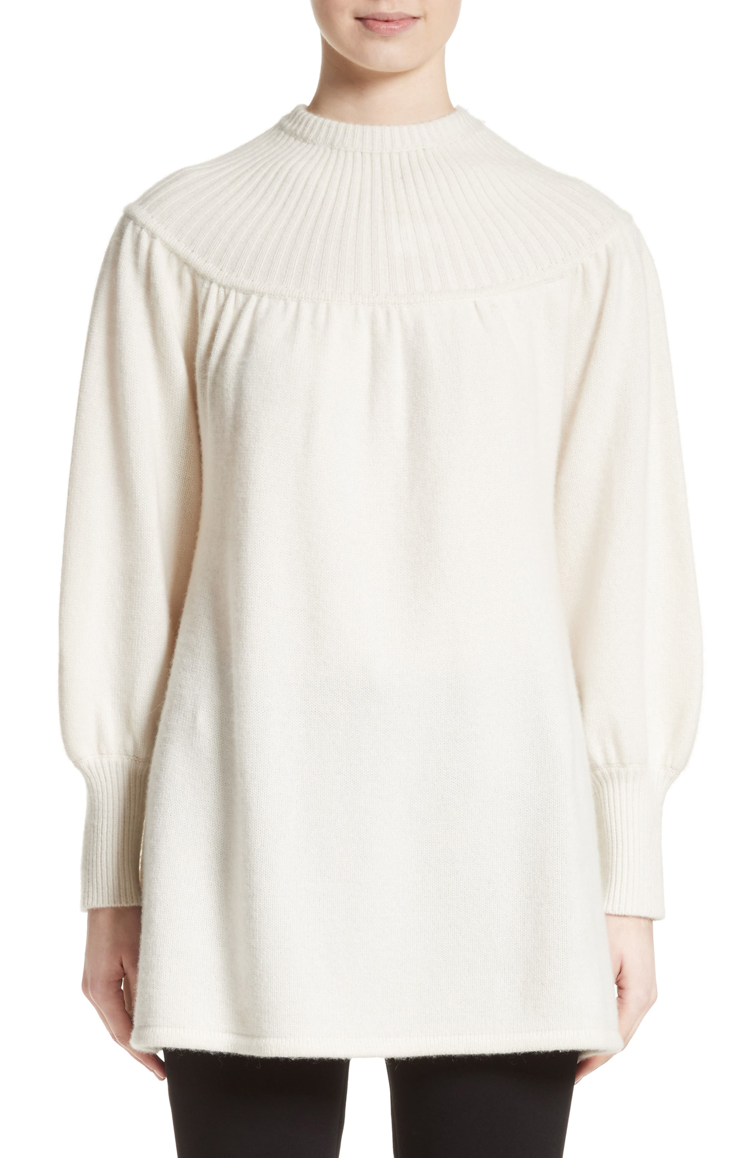 Rib Knit Cashmere Tunic Sweater,                         Main,                         color, Ivory