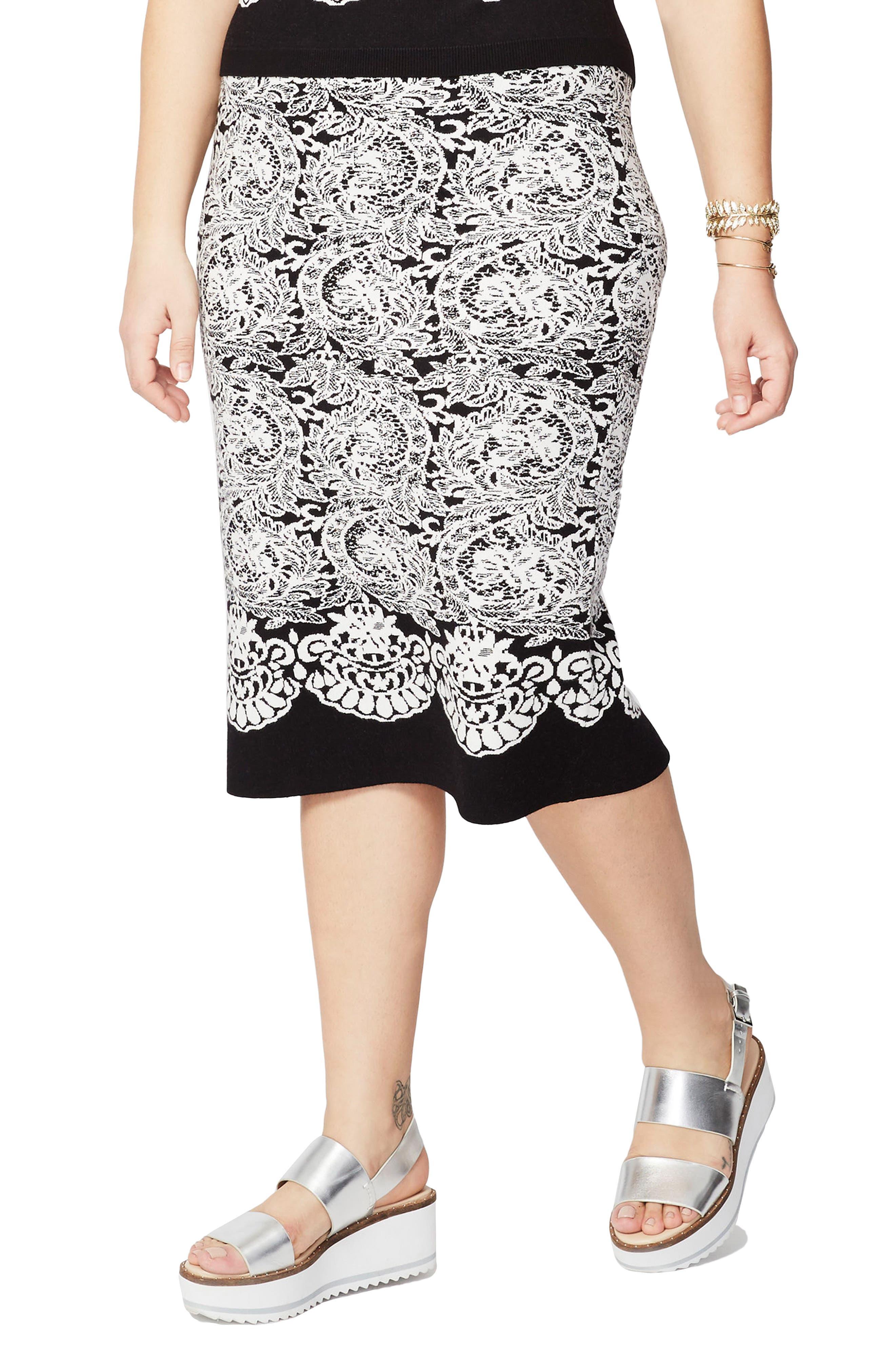 Floral Jacquard Skirt,                         Main,                         color, Black Combo