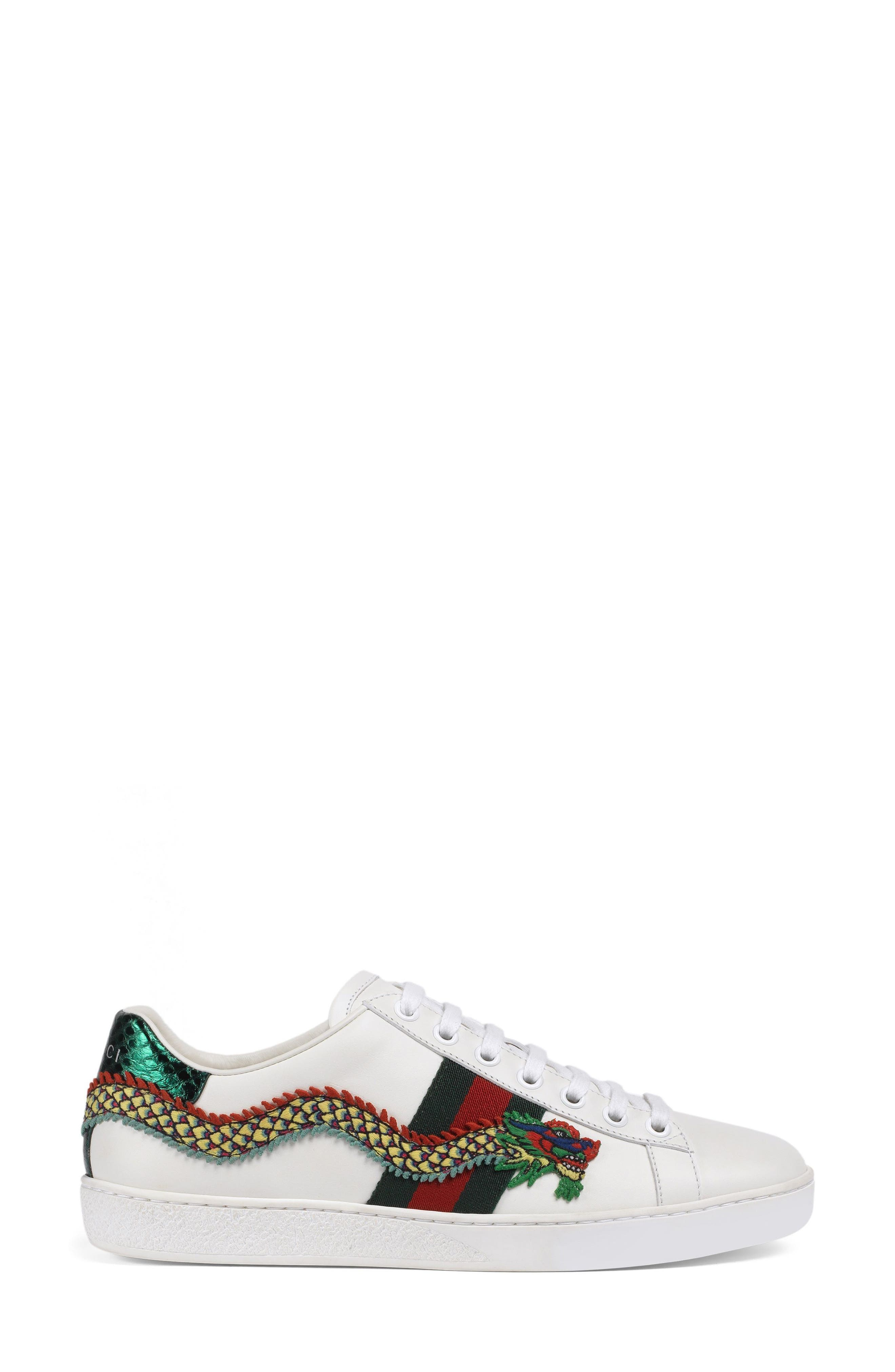 New Ace Dragon Sneaker,                             Main thumbnail 1, color,                             White Leather