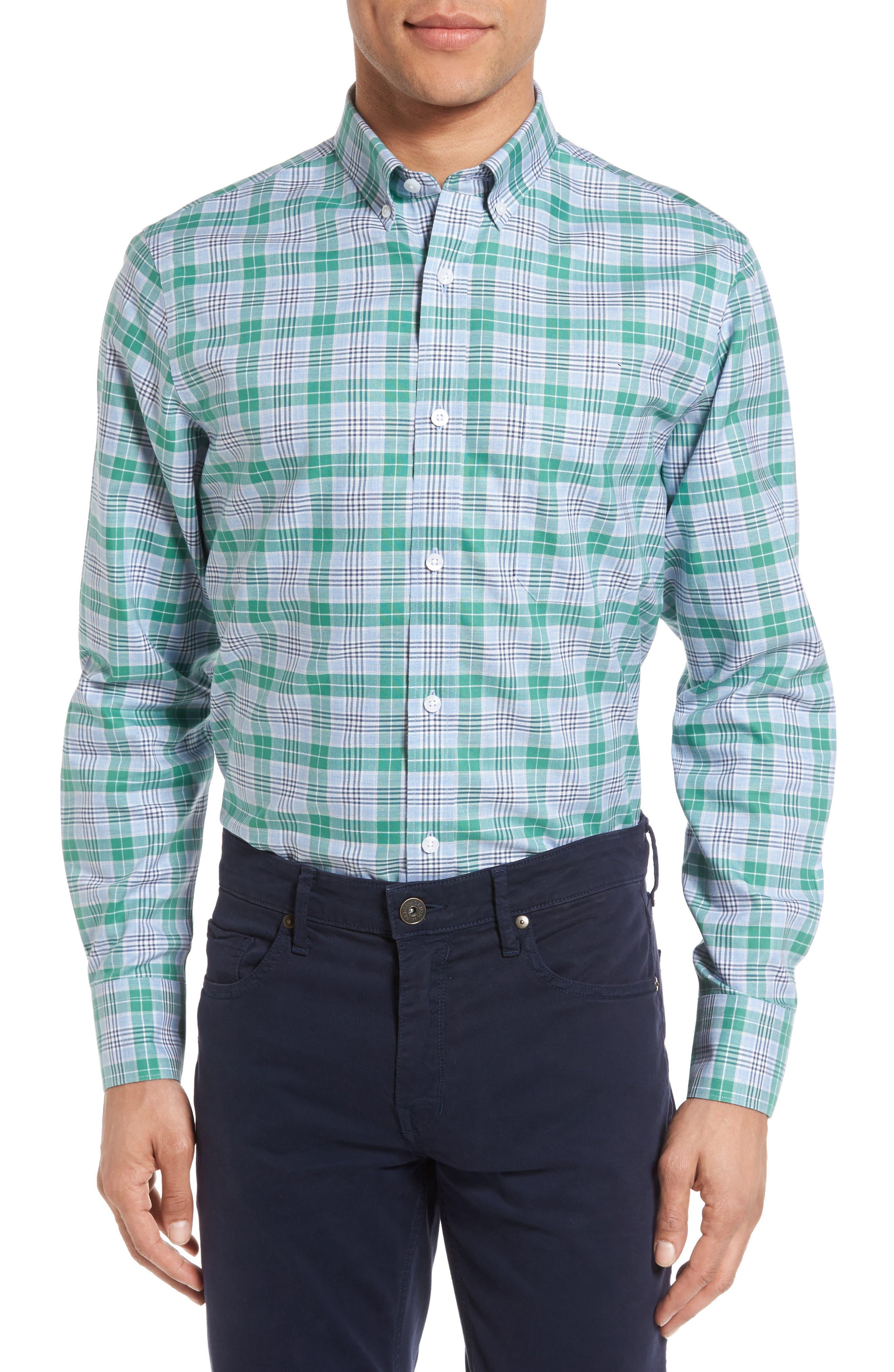 NORDSTROM MENS SHOP Smartcare<sup>™</sup> Regular Fit Plaid Sport Shirt