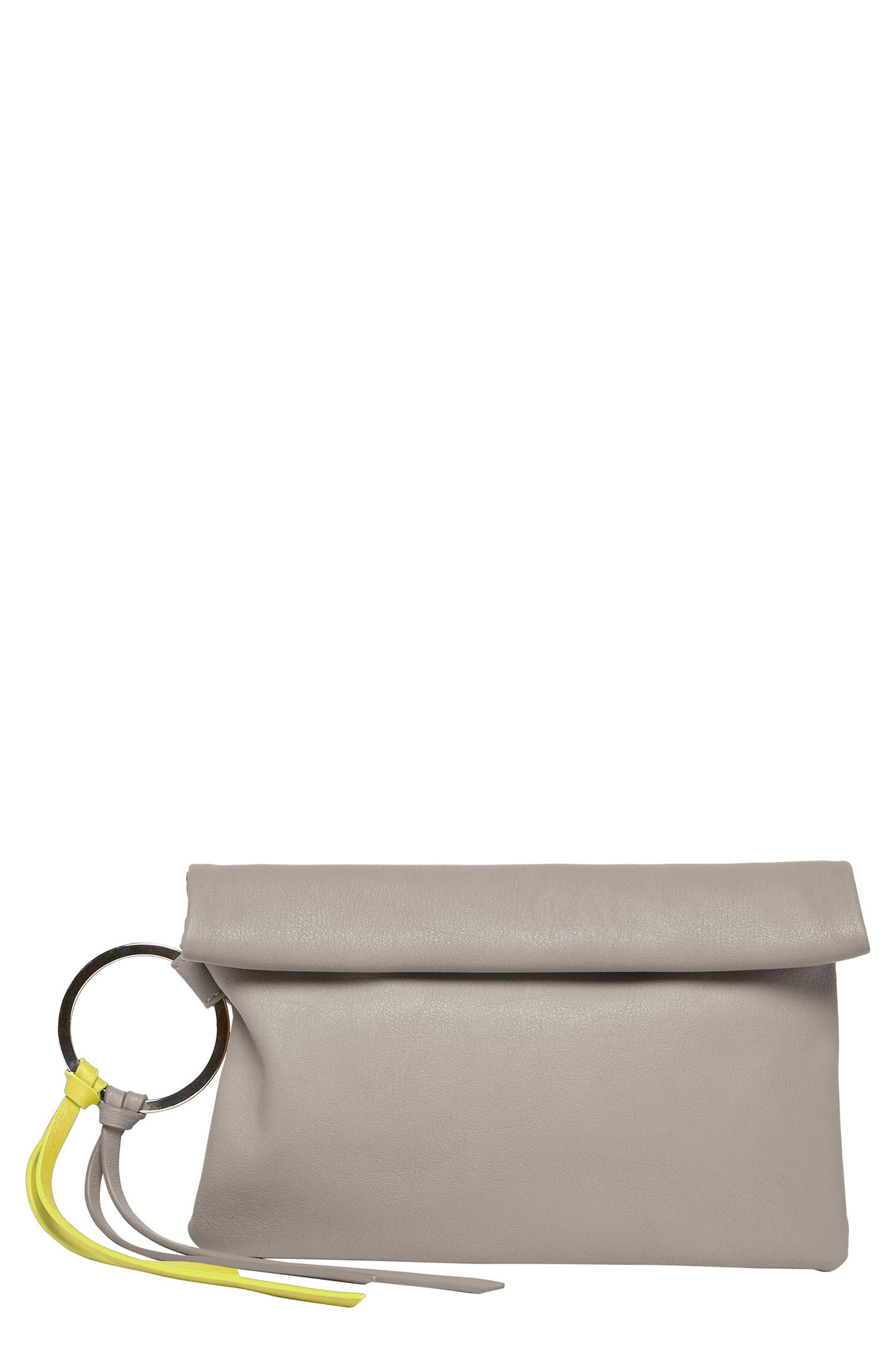 Lost Lover Vegan Leather Clutch,                         Main,                         color, Grey