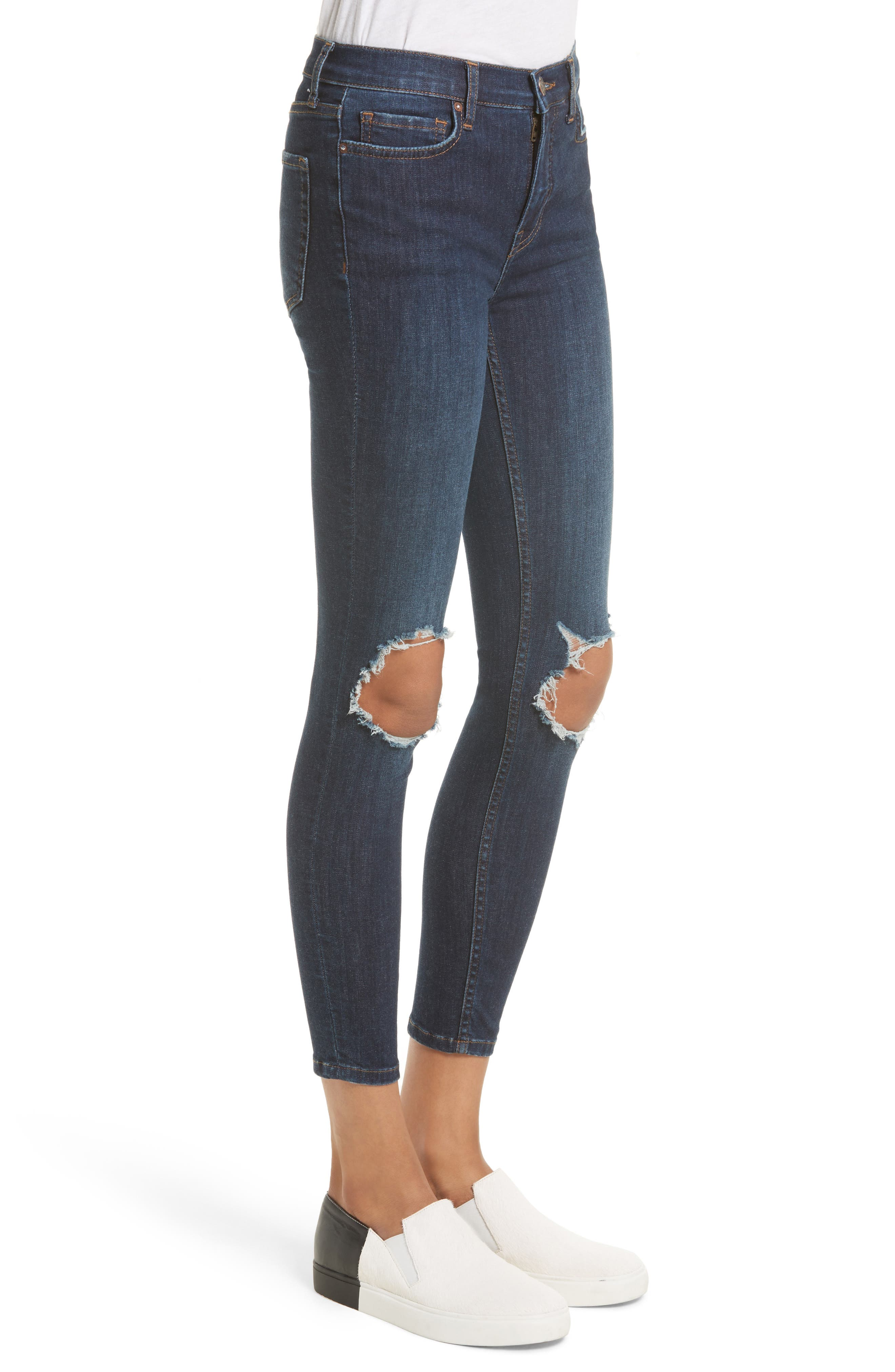 Alternate Image 4  - Free People High Rise Busted Knee Skinny Jeans (Dark Blue)