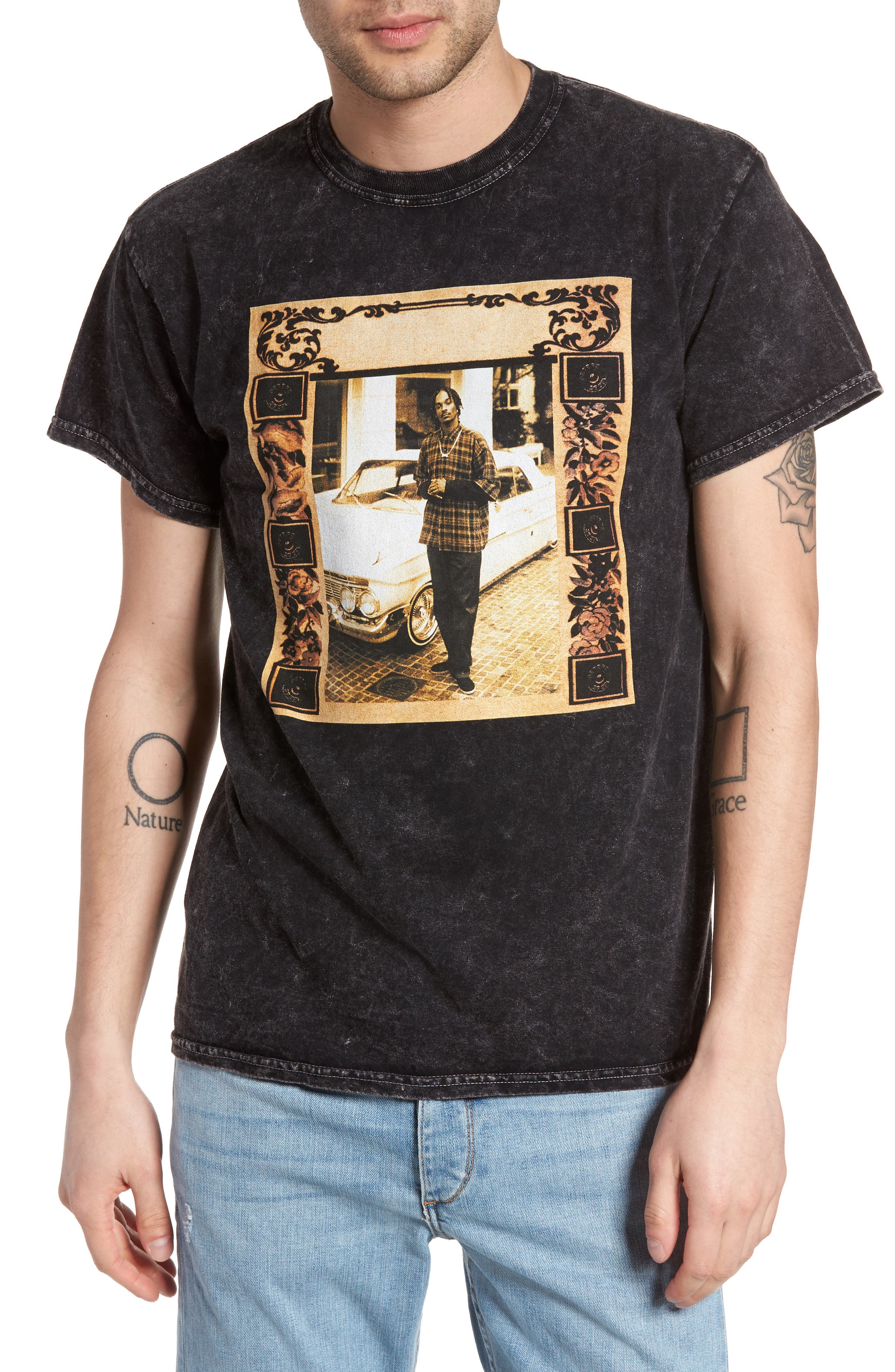 Graphic T-Shirt,                         Main,                         color, Black- Sepia Snoop Graphic