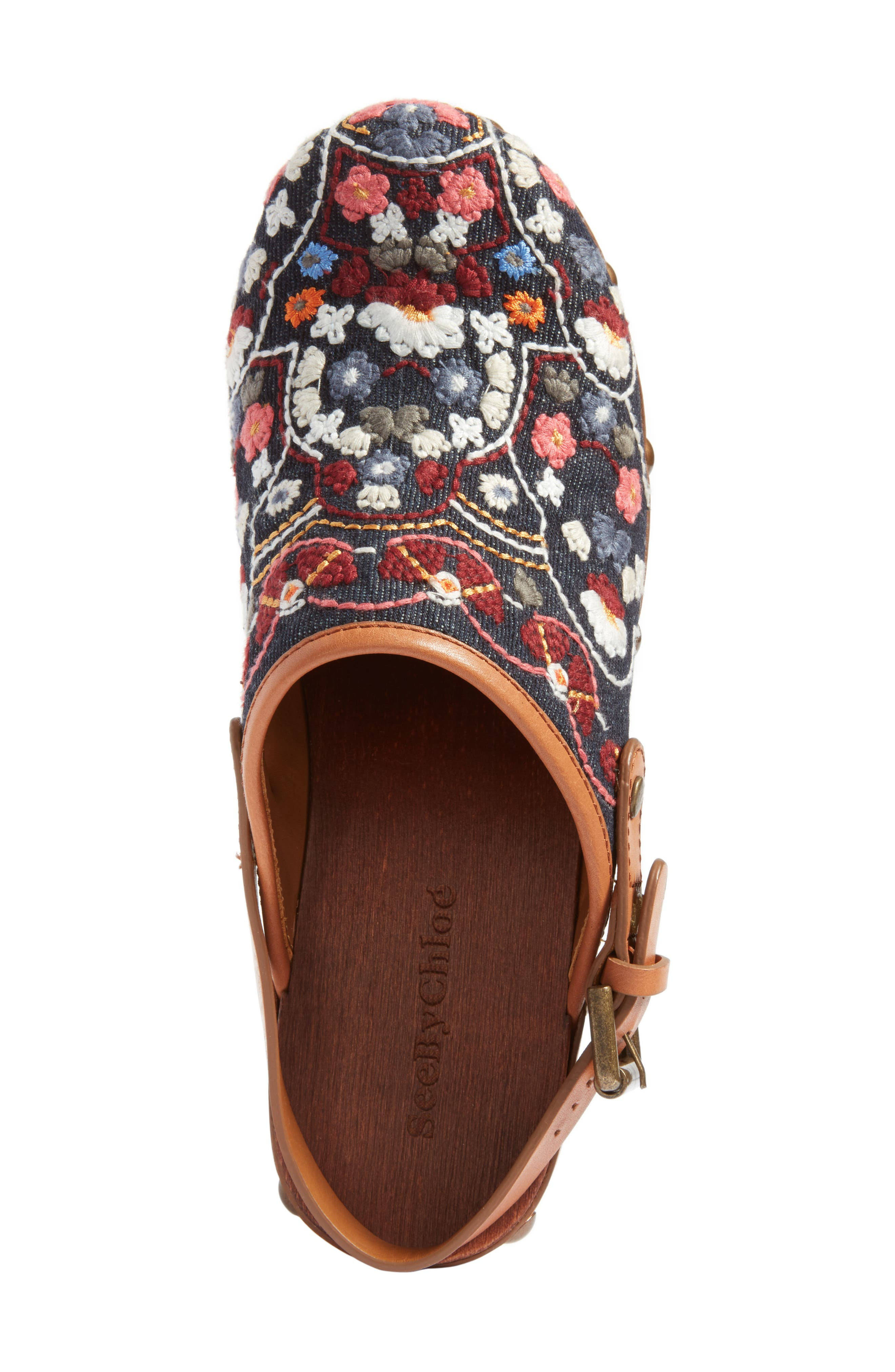 Tasha Embroidered Clog,                             Alternate thumbnail 5, color,                             Denim/ Multi